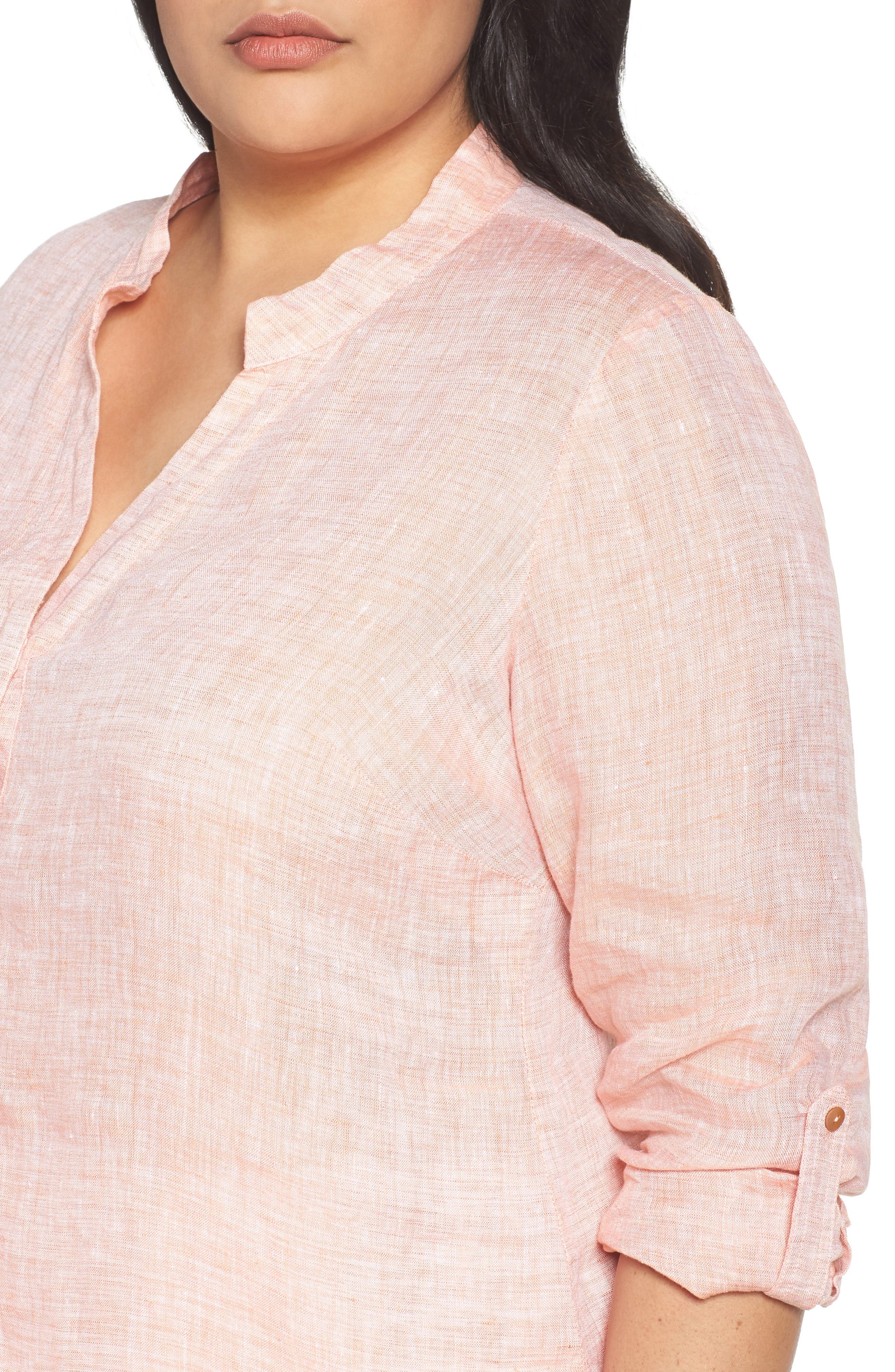 Alternate Image 4  - NIC+ZOE Drifty Woven Linen Shirt (Plus Size)