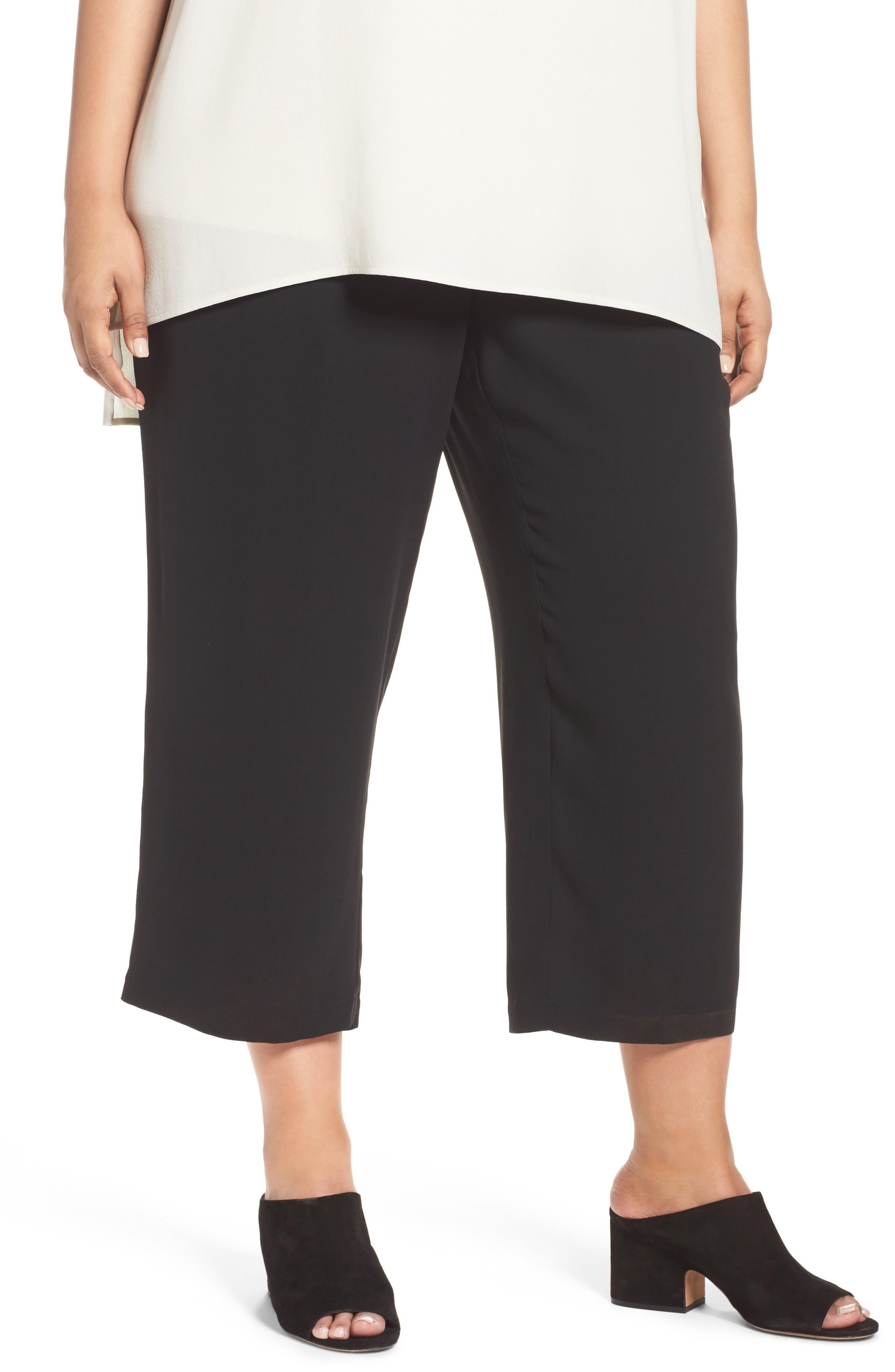 Silk Georgette Crop Pants,                         Main,                         color, Black