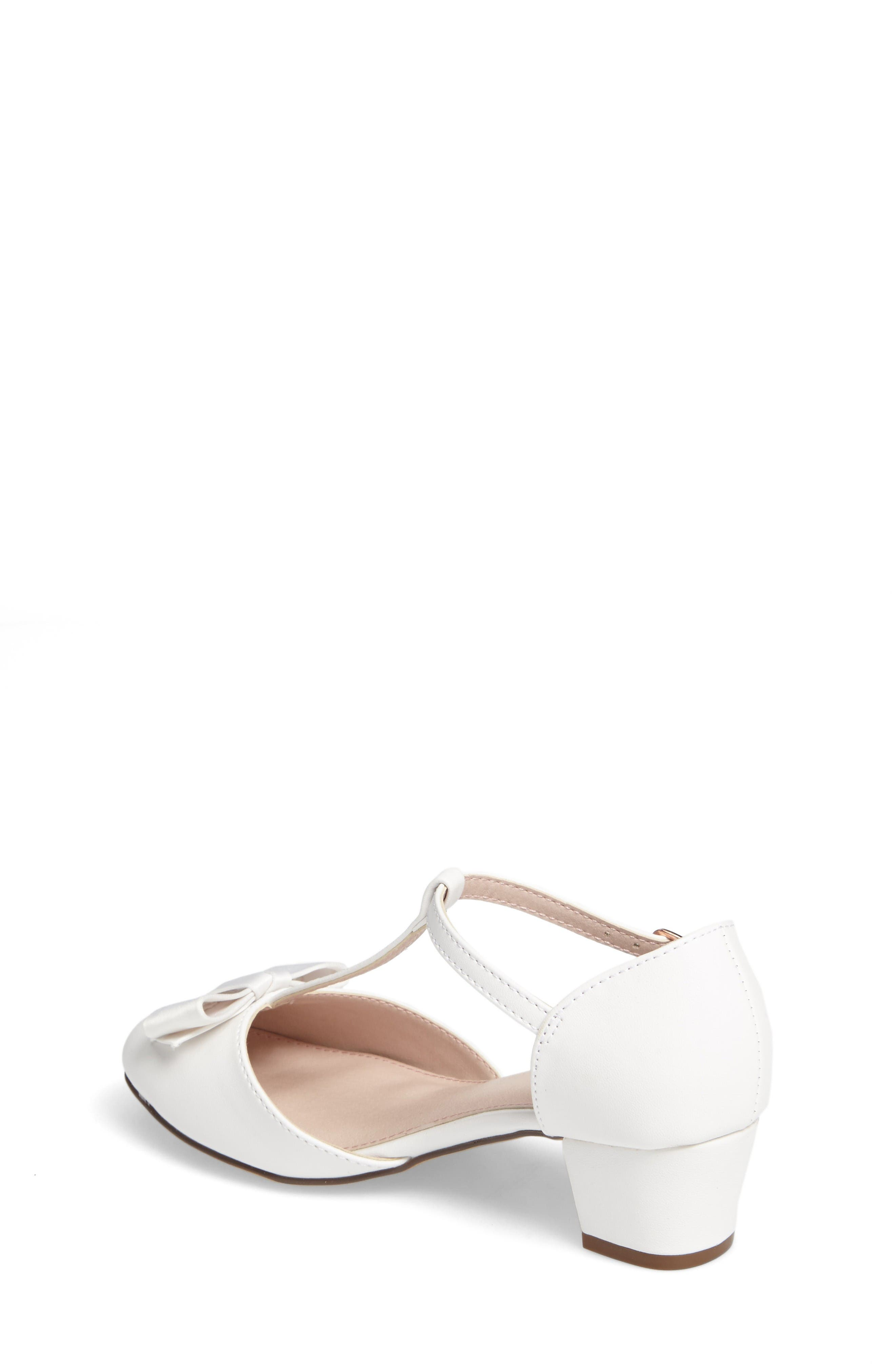 Wylow T-Strap Bow Pump,                             Alternate thumbnail 2, color,                             White Faux Leather