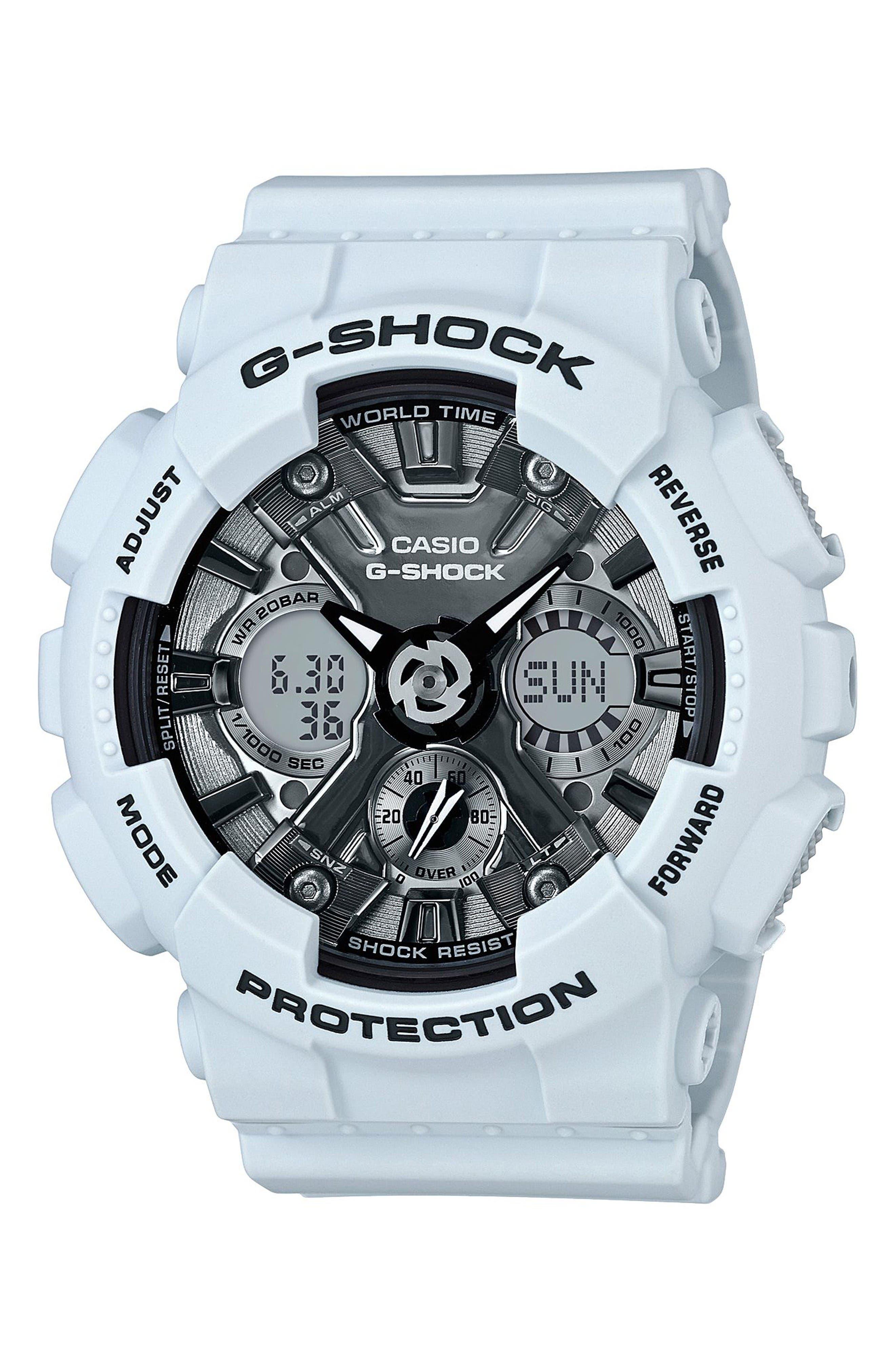 G-Shock S-Series Ana-Digi Watch, 49mm,                             Main thumbnail 1, color,                             Blue/ White