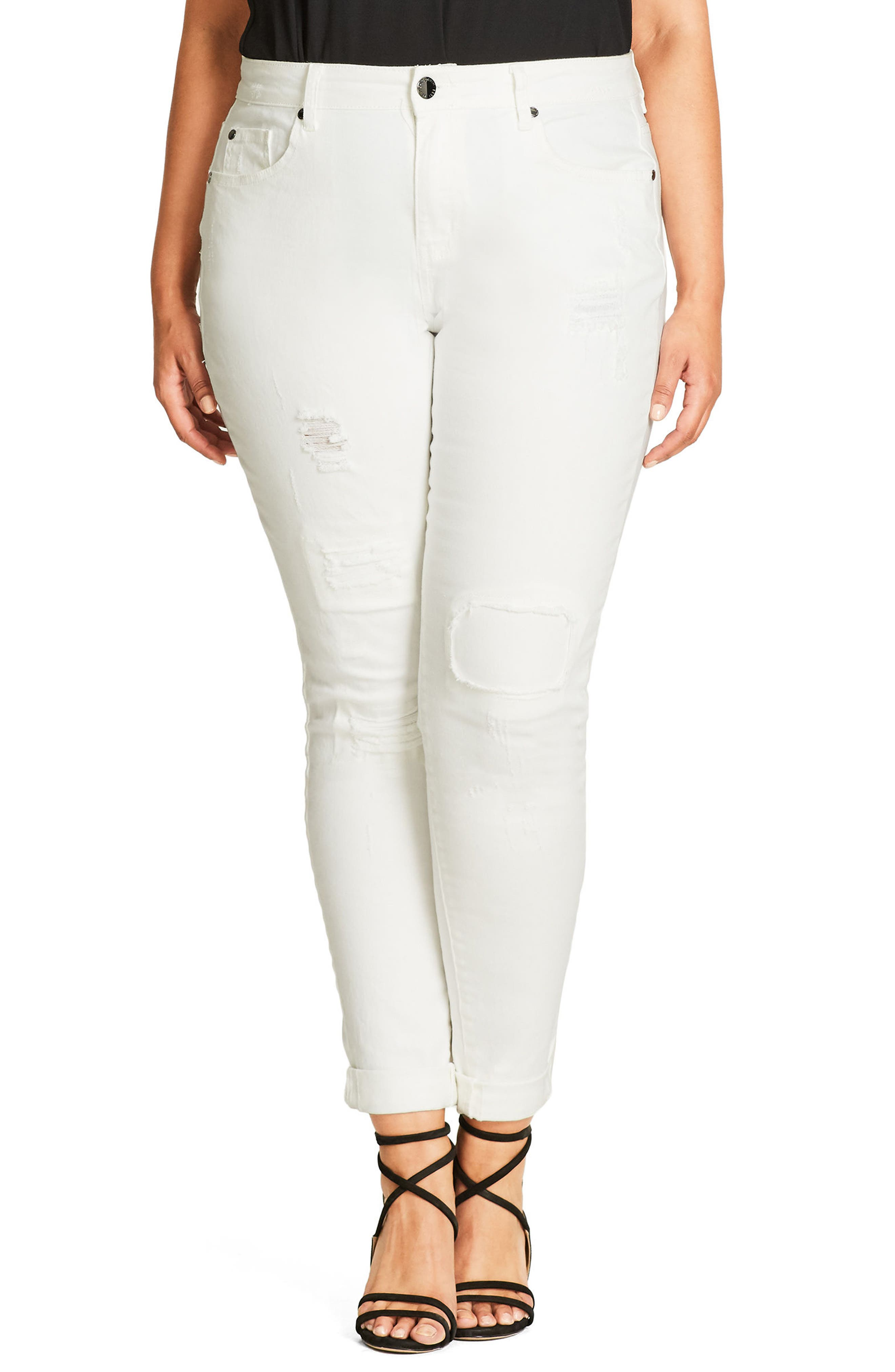 City Chic Patched Up Ripped Skinny Jeans (Plus Size)