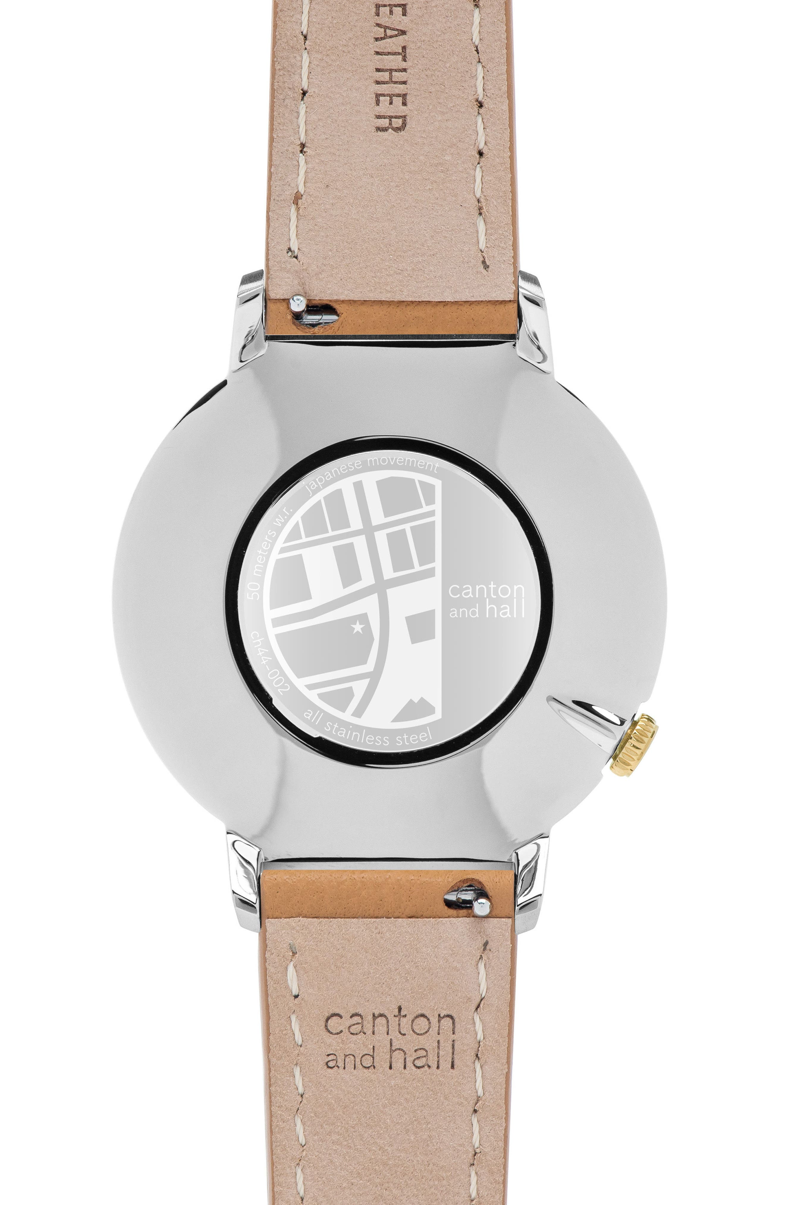 Leather Strap Watch, 44mm,                             Alternate thumbnail 2, color,                             Navy/ Tan