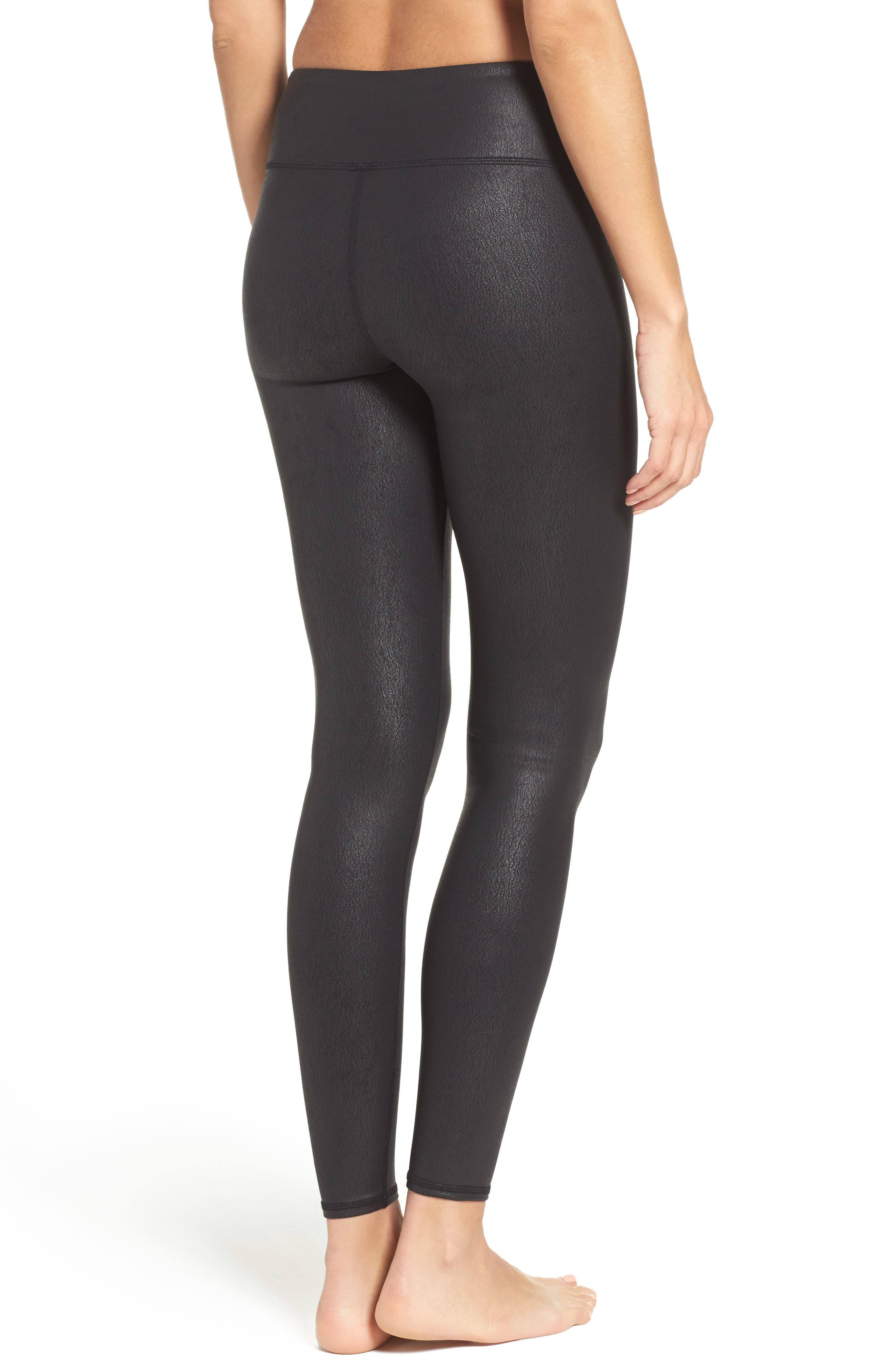 'Airbrushed' Leggings,                             Alternate thumbnail 2, color,                             Black Performance Leather