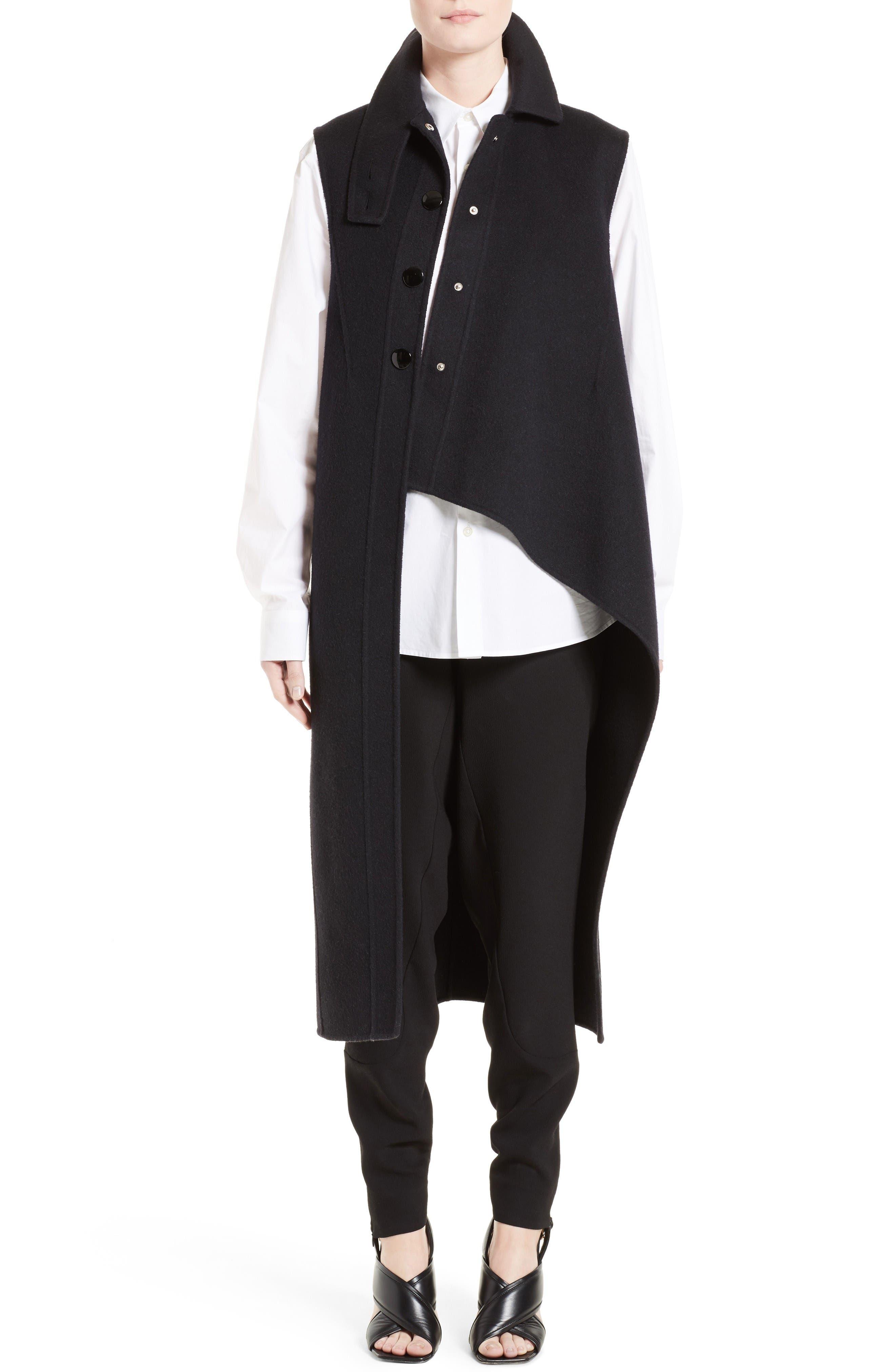 Wool, Alpaca & Cashmere Asymmetrical Vest,                             Main thumbnail 1, color,                             Black