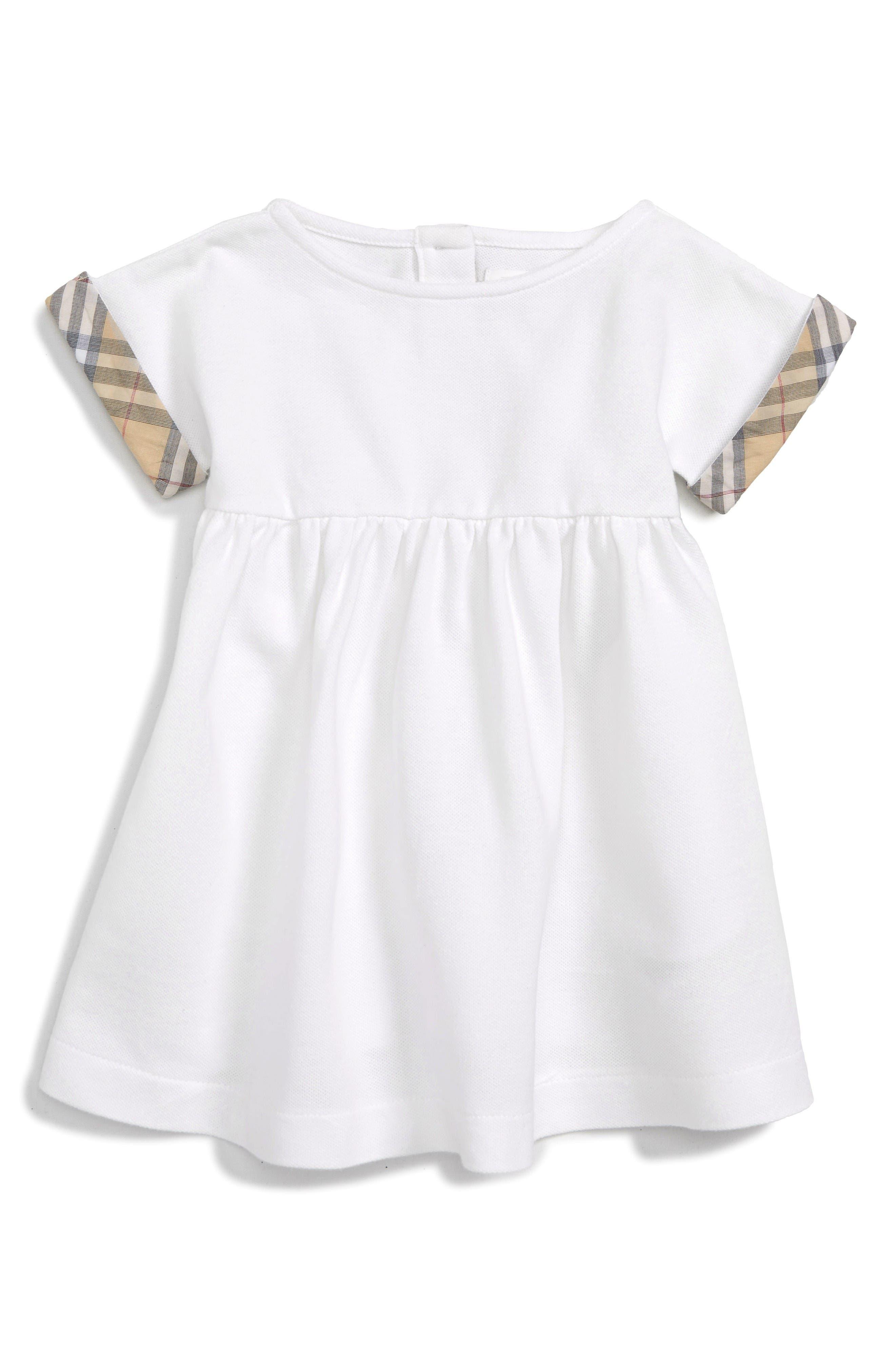 Jen Check Cuff Dress,                         Main,                         color, White