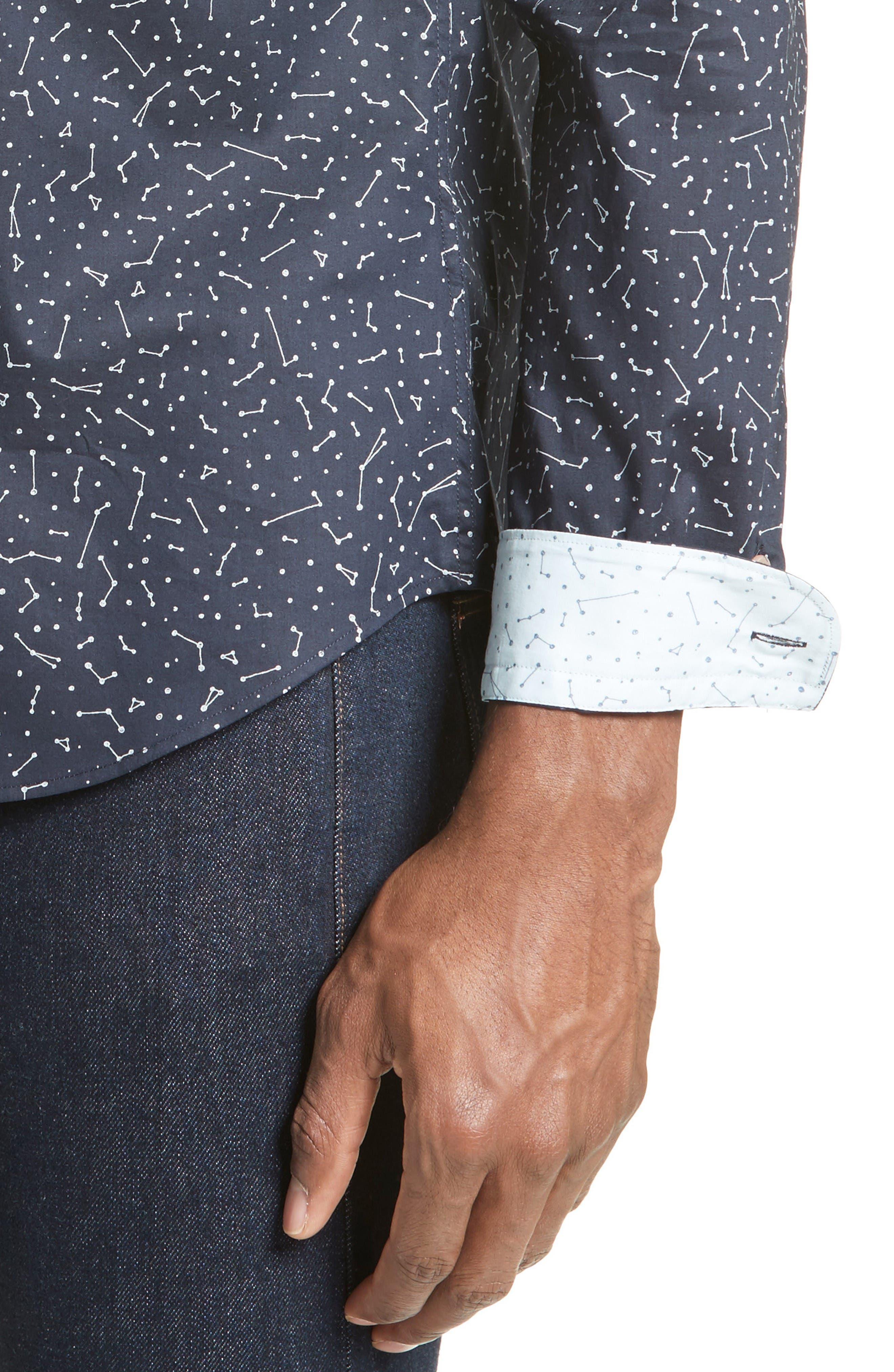 Extra Trim Fit Constellation Print Sport Shirt,                             Alternate thumbnail 4, color,                             Navy