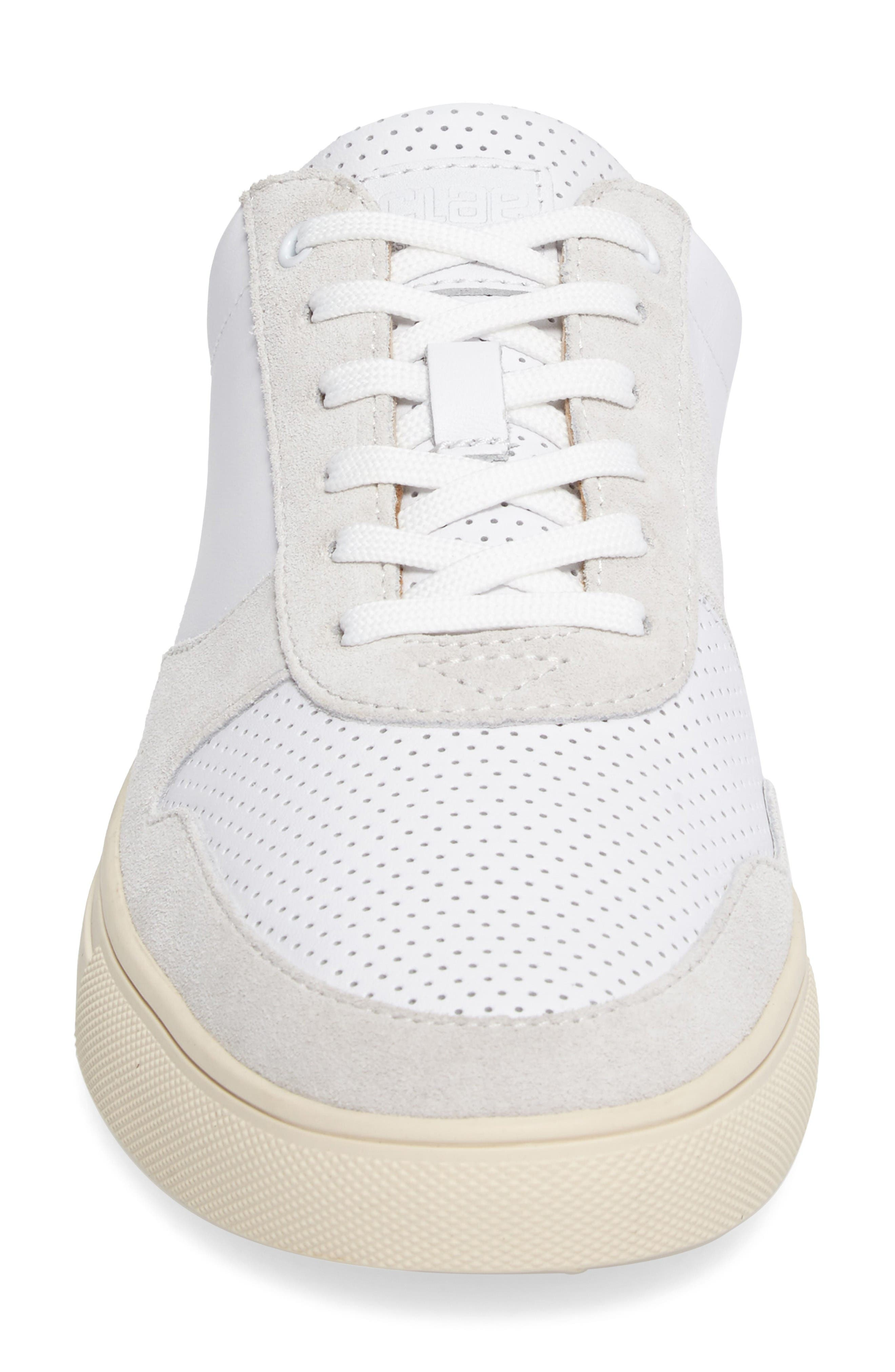 'Gregory' Sneaker,                             Alternate thumbnail 4, color,                             White Leather