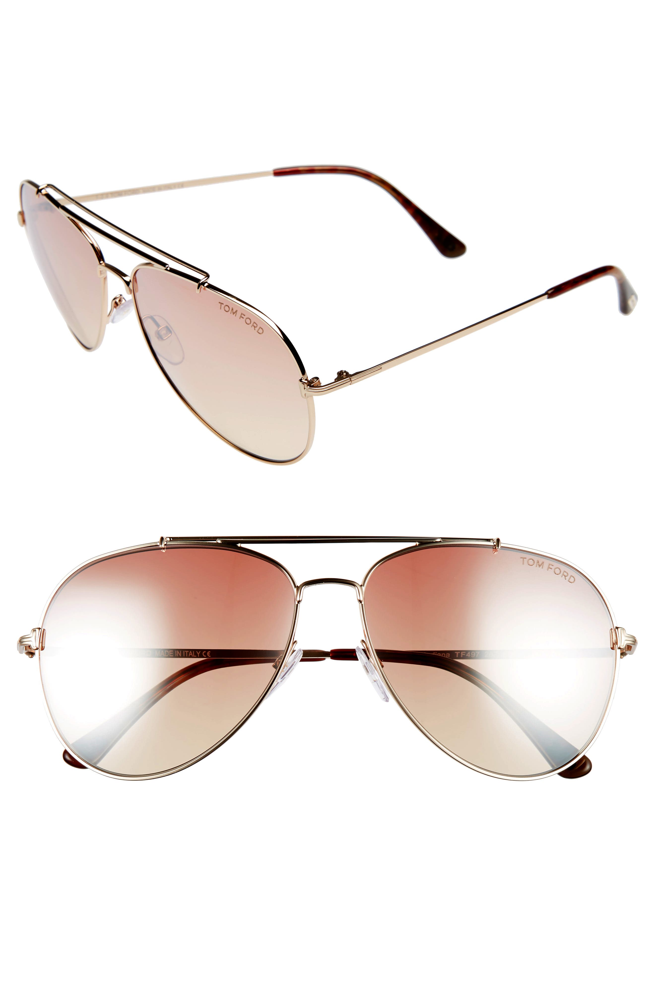 Main Image - Tom Ford Indiana 60mm Aviator Sunglasses