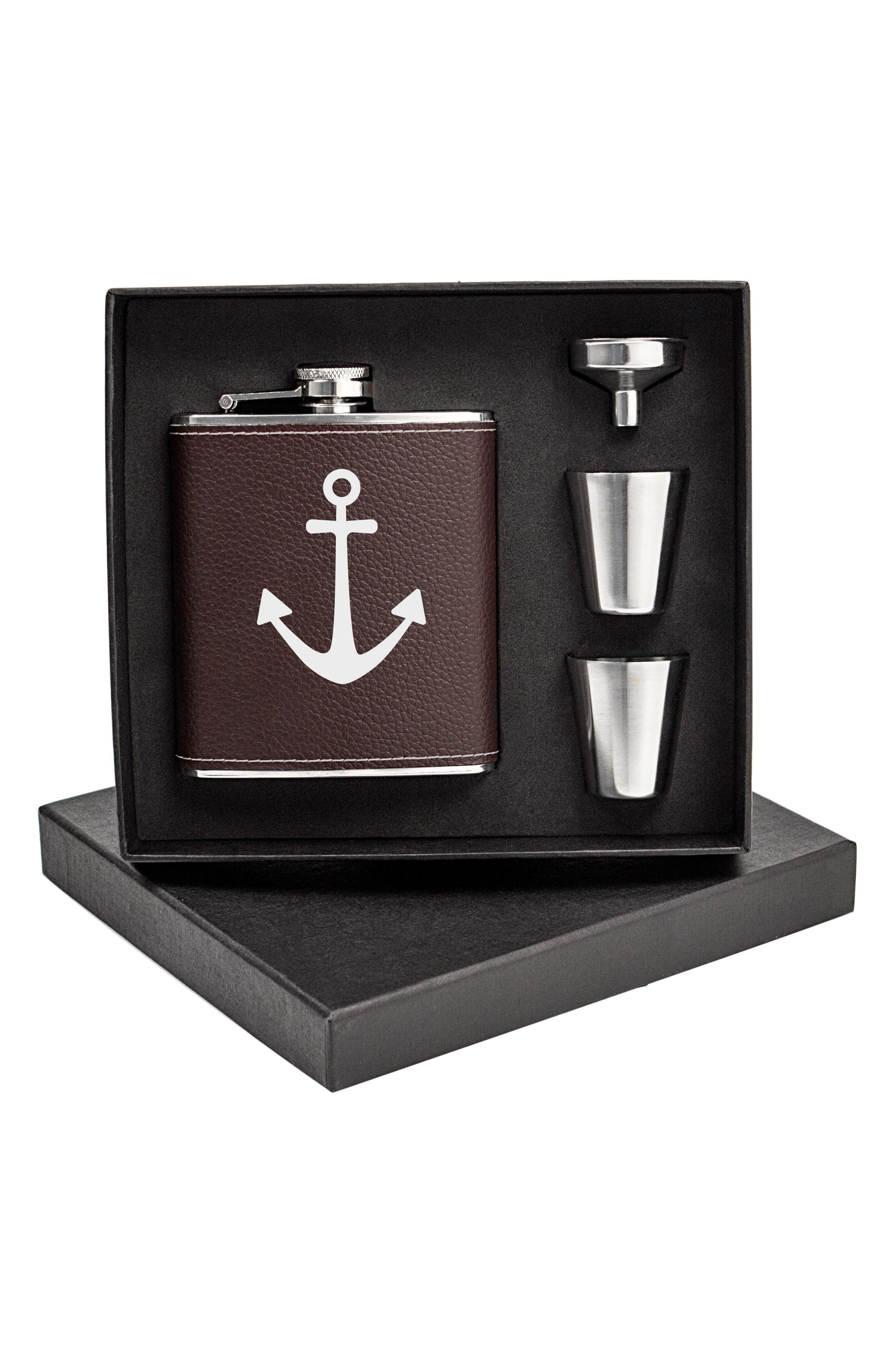 Leather Flask Set,                             Alternate thumbnail 3, color,                             Brown - Anchor