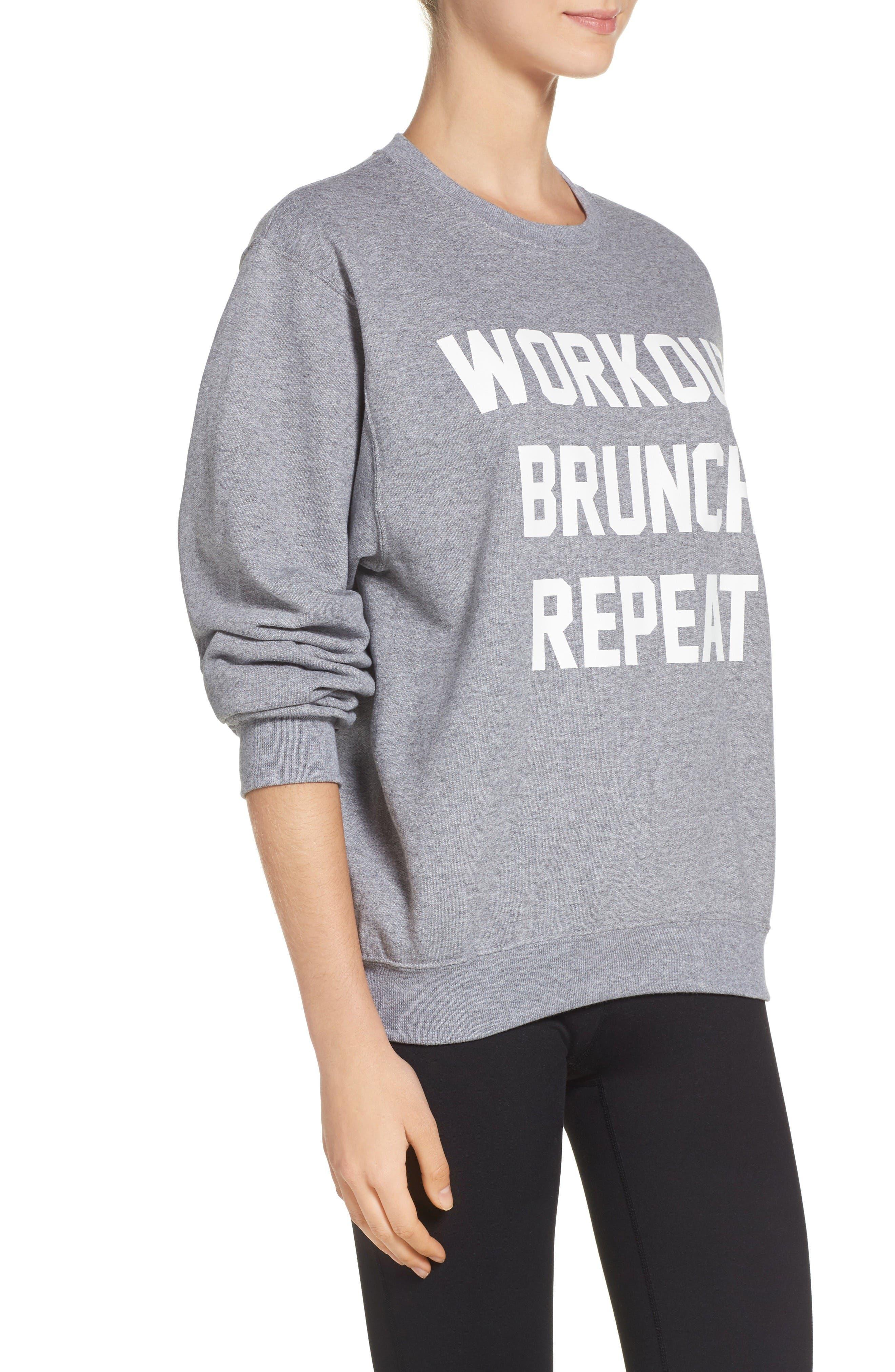 Workout Brunch Repeat Sweatshirt,                             Alternate thumbnail 3, color,                             Grey