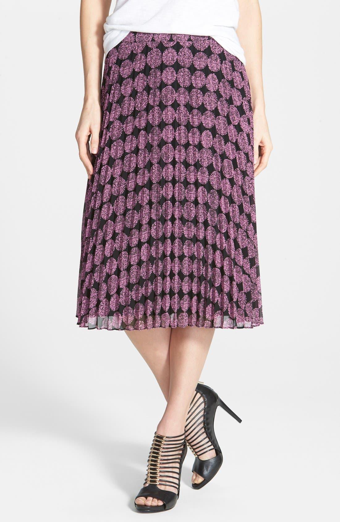 Alternate Image 1 Selected - Halogen® Pleat Midi Skirt (Regular & Petite)