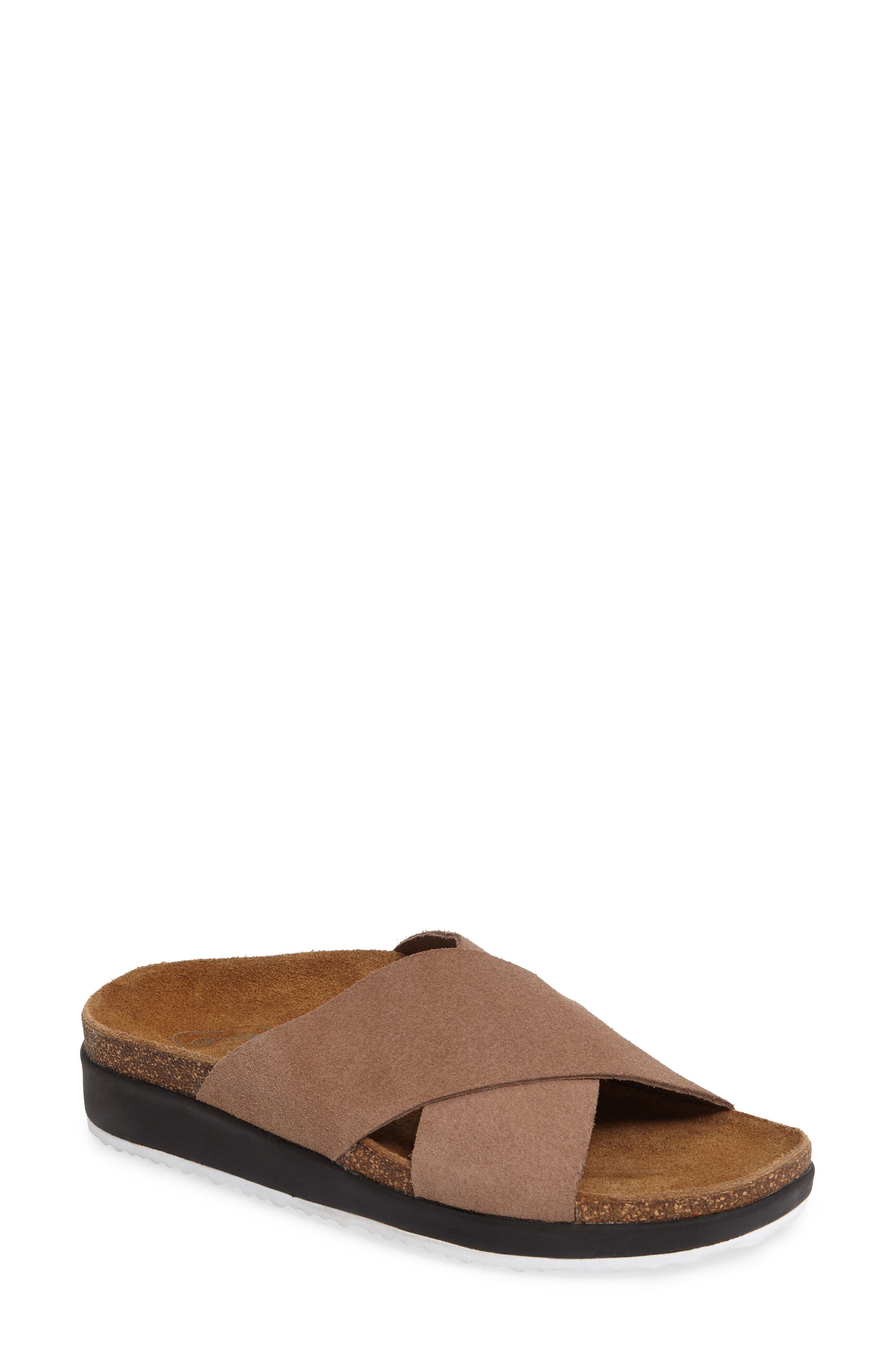 Dawn Slide Sandal,                         Main,                         color, Taupe Suede
