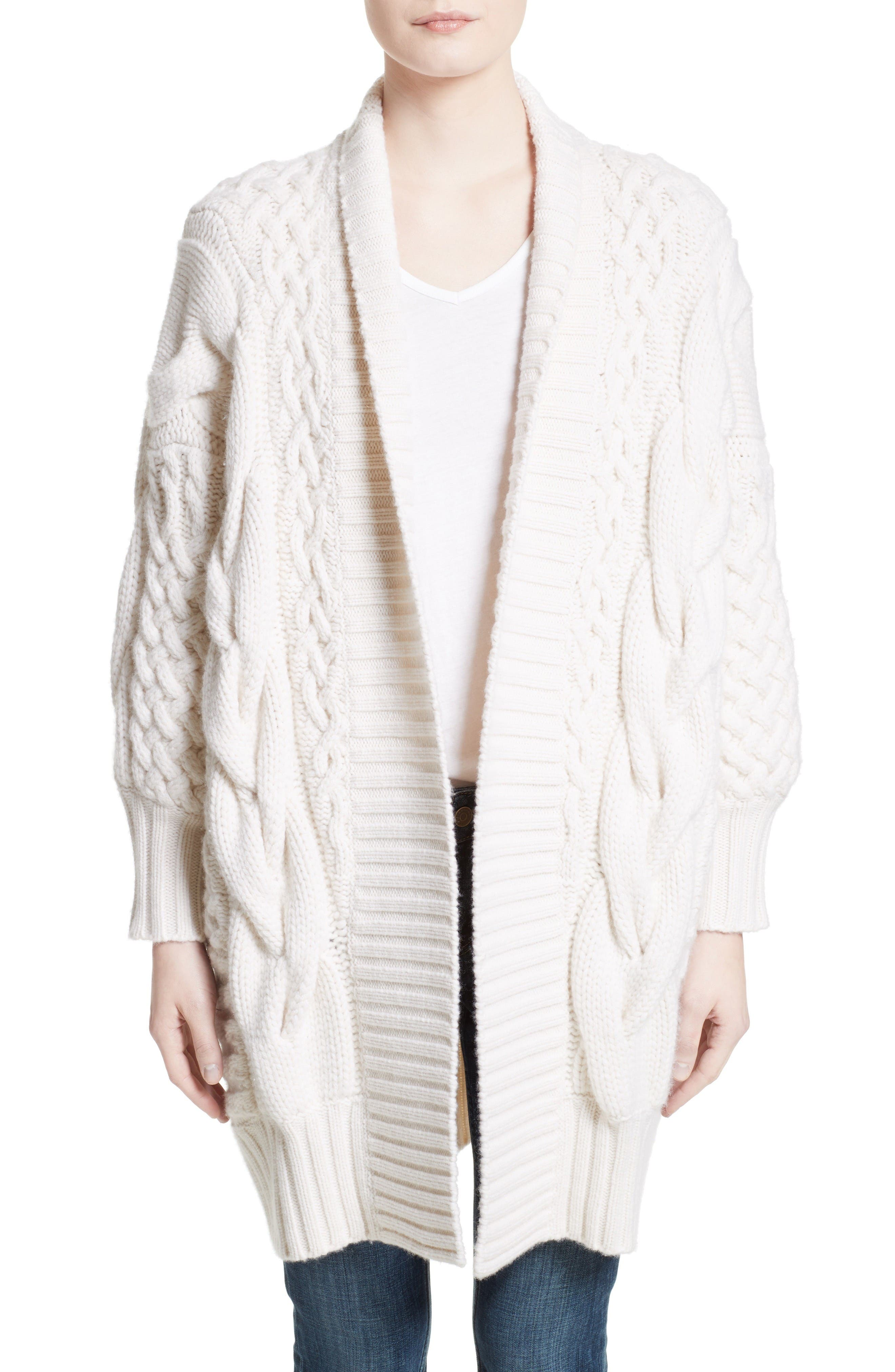 Camrosbrook Wool & Cashmere Open Cardigan,                         Main,                         color, Natural White