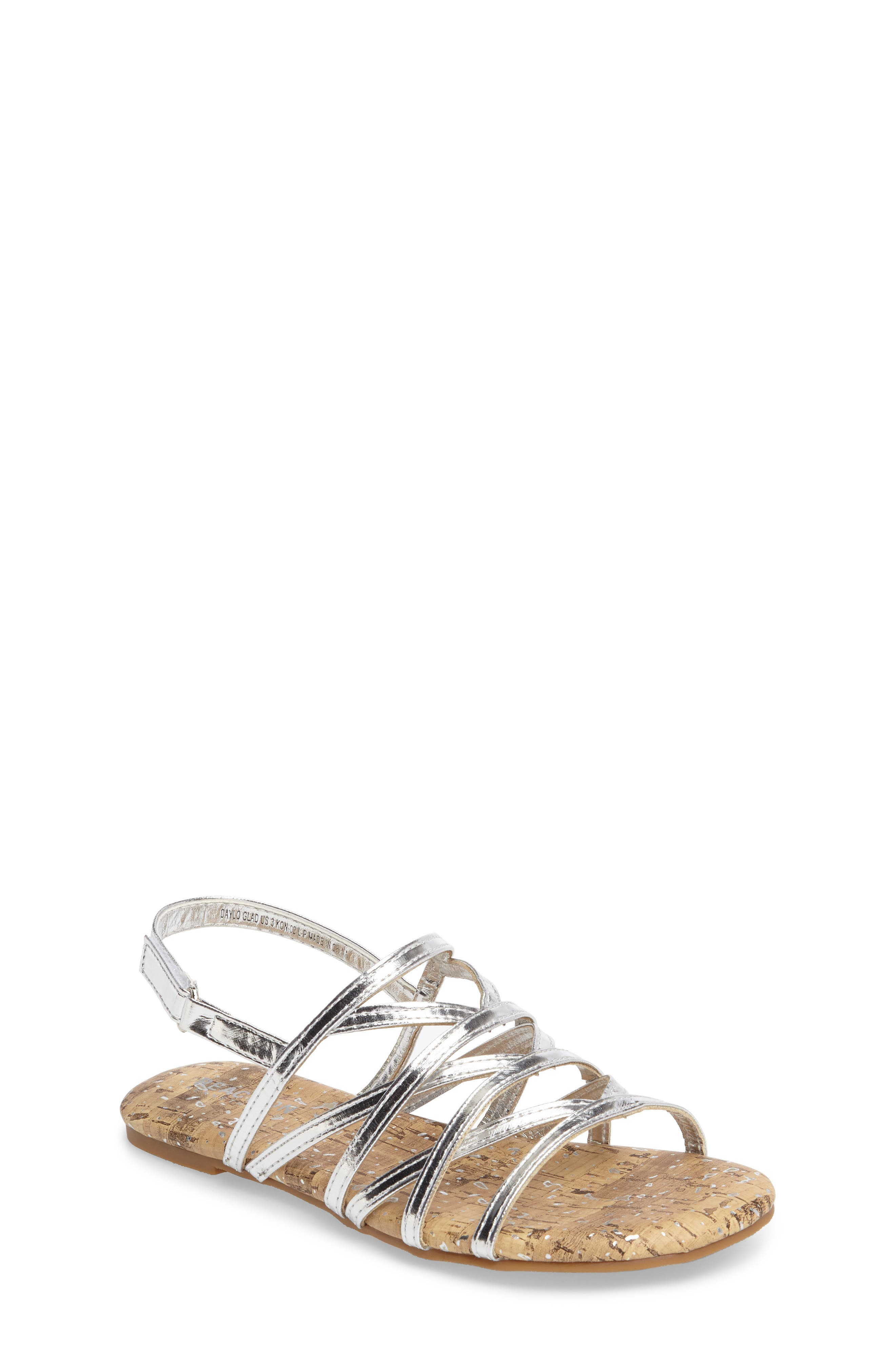 Daylo Glad Strappy Sandal,                         Main,                         color, Silver Faux Leather