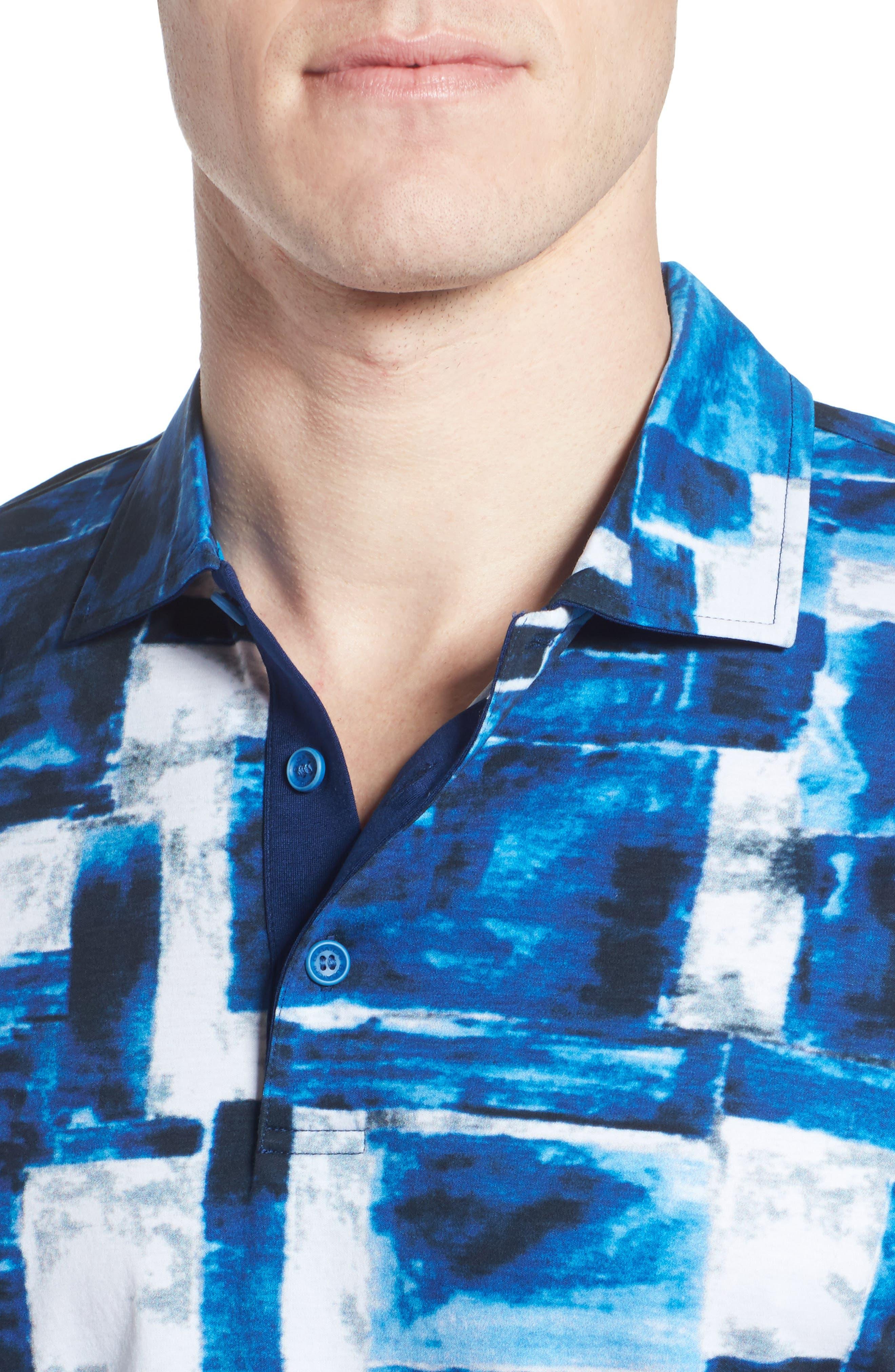Print Jersey Polo,                             Alternate thumbnail 4, color,                             Night Blue