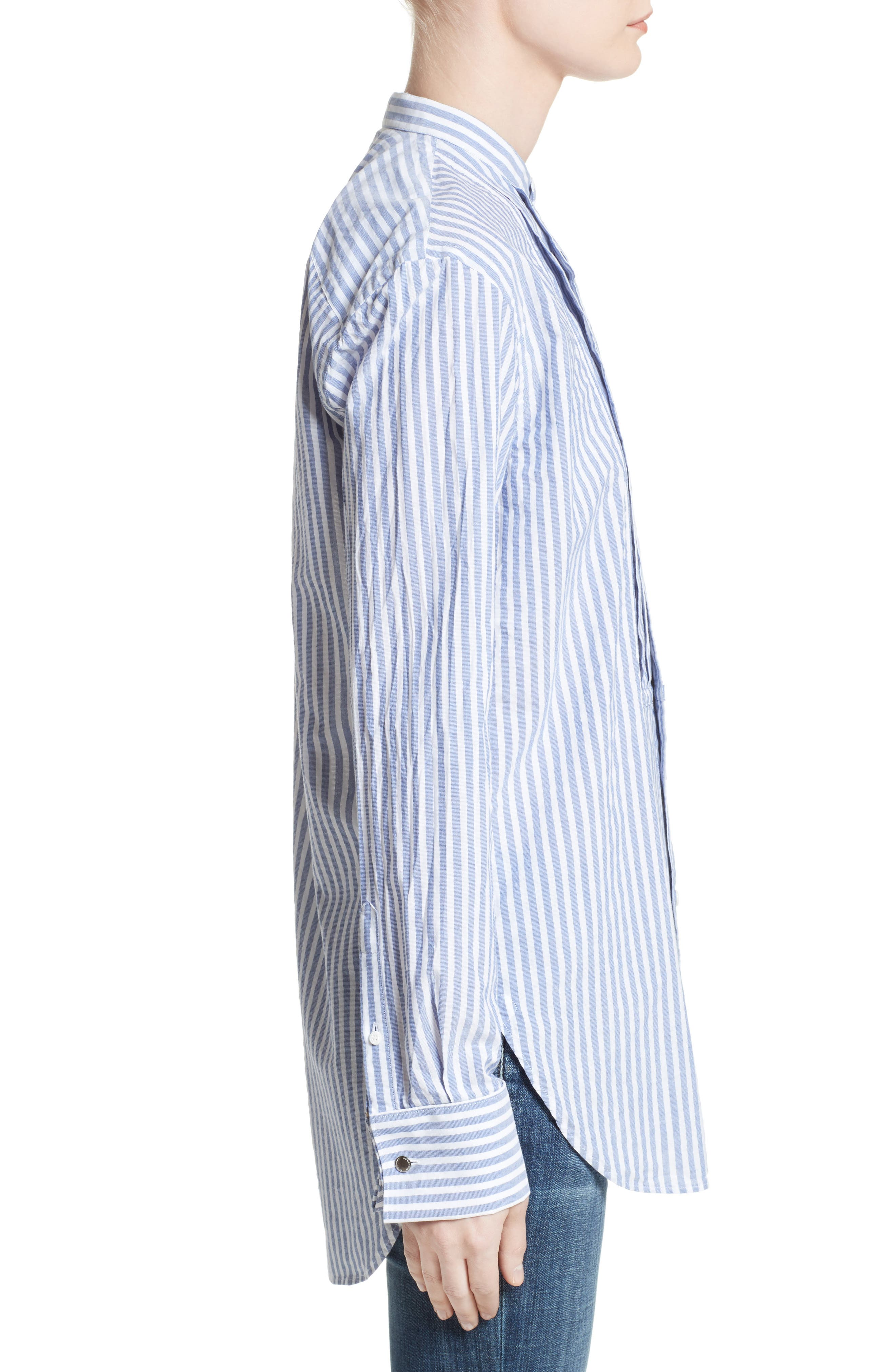 Benfleet Stripe Cotton Top,                             Alternate thumbnail 5, color,                             Pale Blue/ White