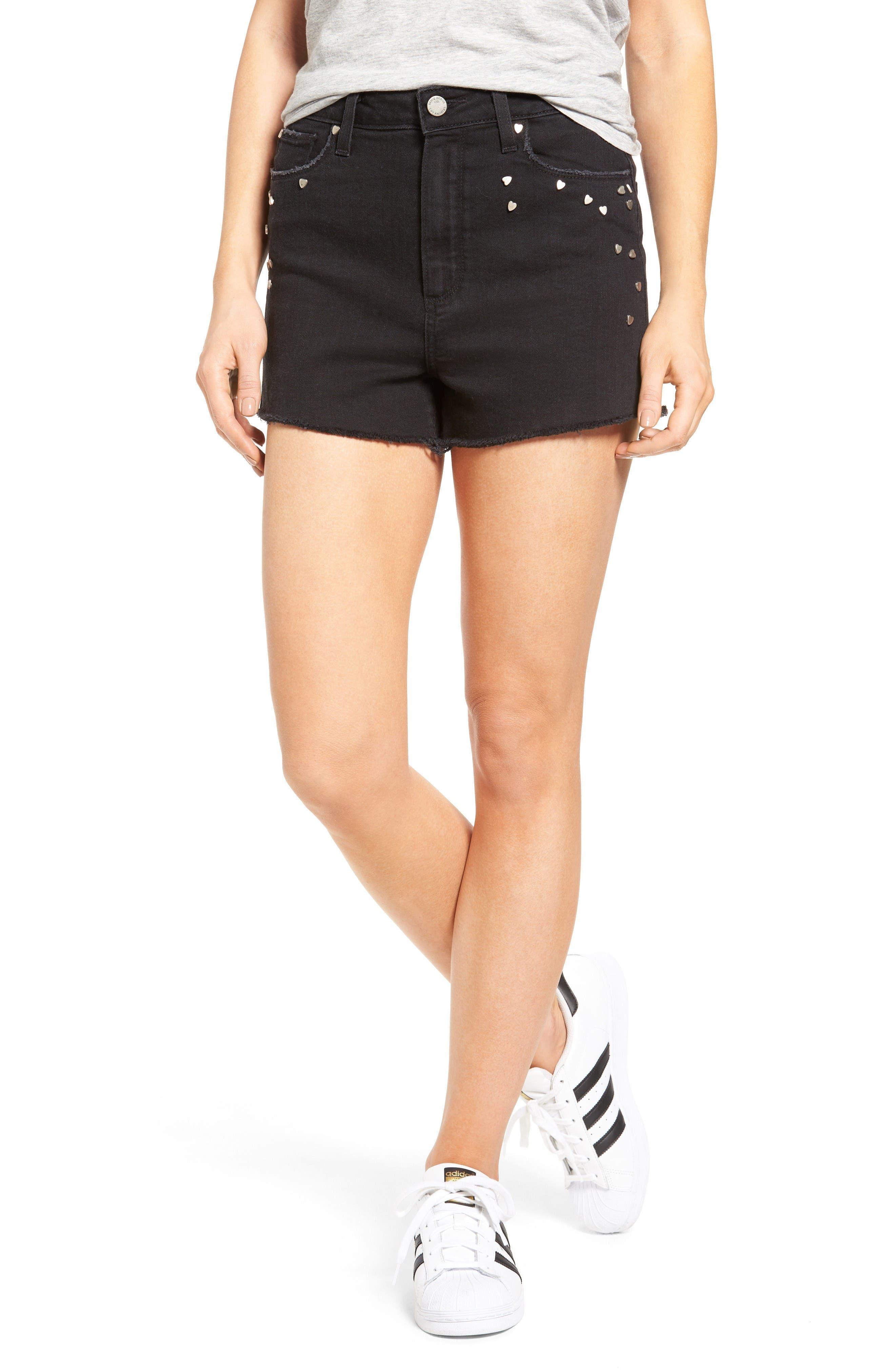 PAIGE Margot High Waist Cutoff Denim Shorts (Noir Studded Heart)