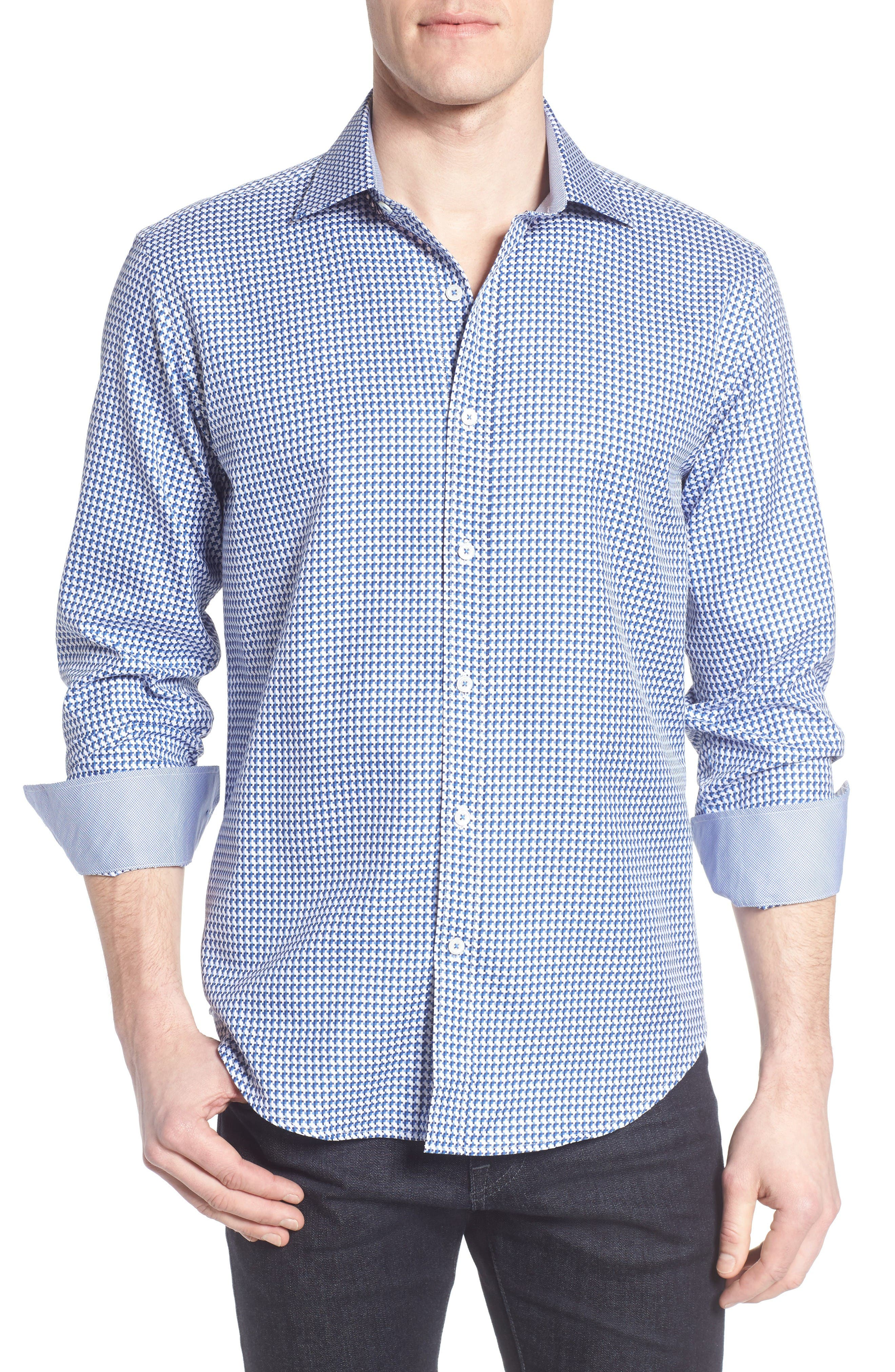 Shaped Fit Geo Sport Shirt,                         Main,                         color, Navy
