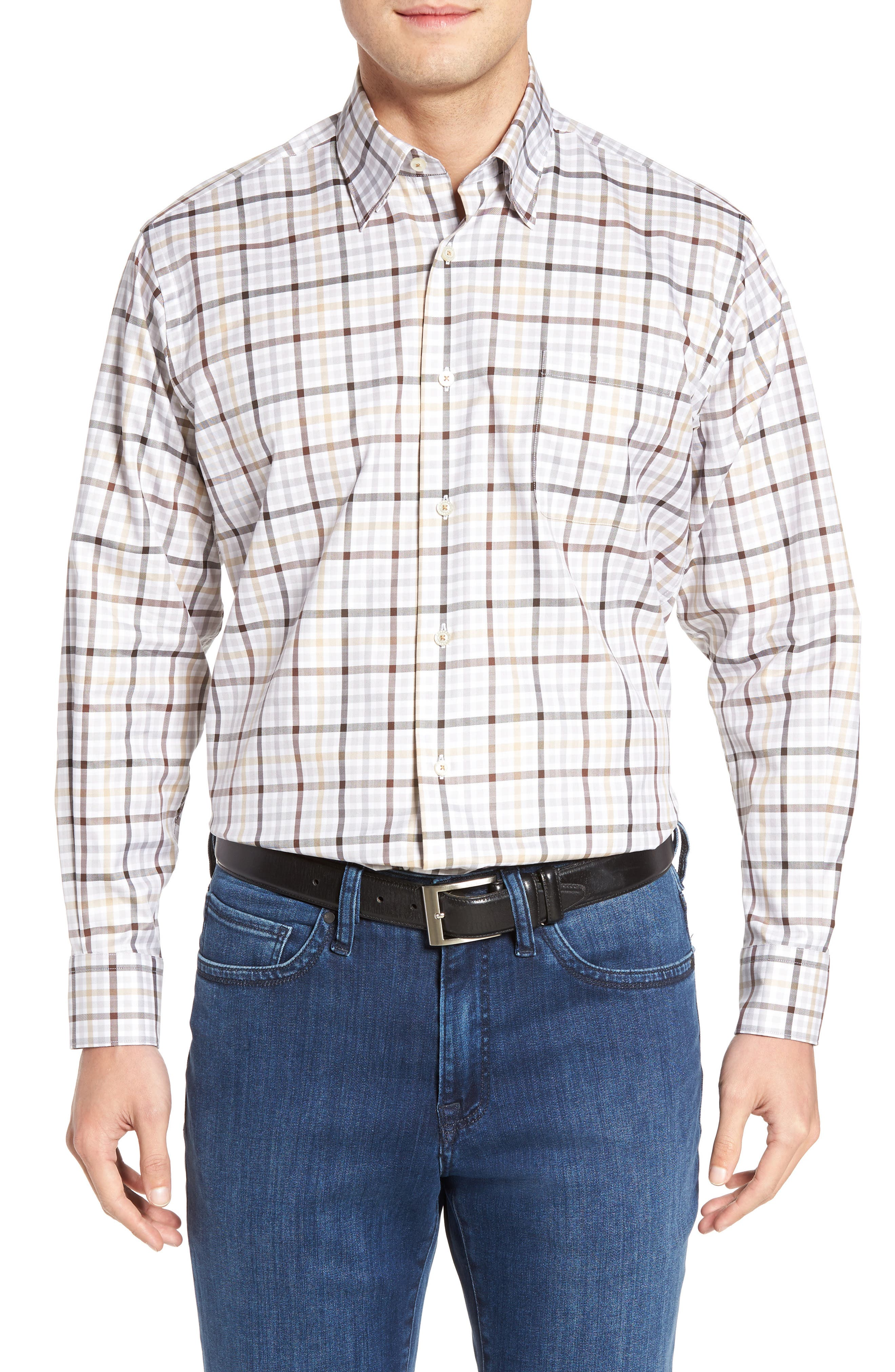 Anderson Classic Fit Plaid Micro Twill Sport Shirt,                         Main,                         color, 201