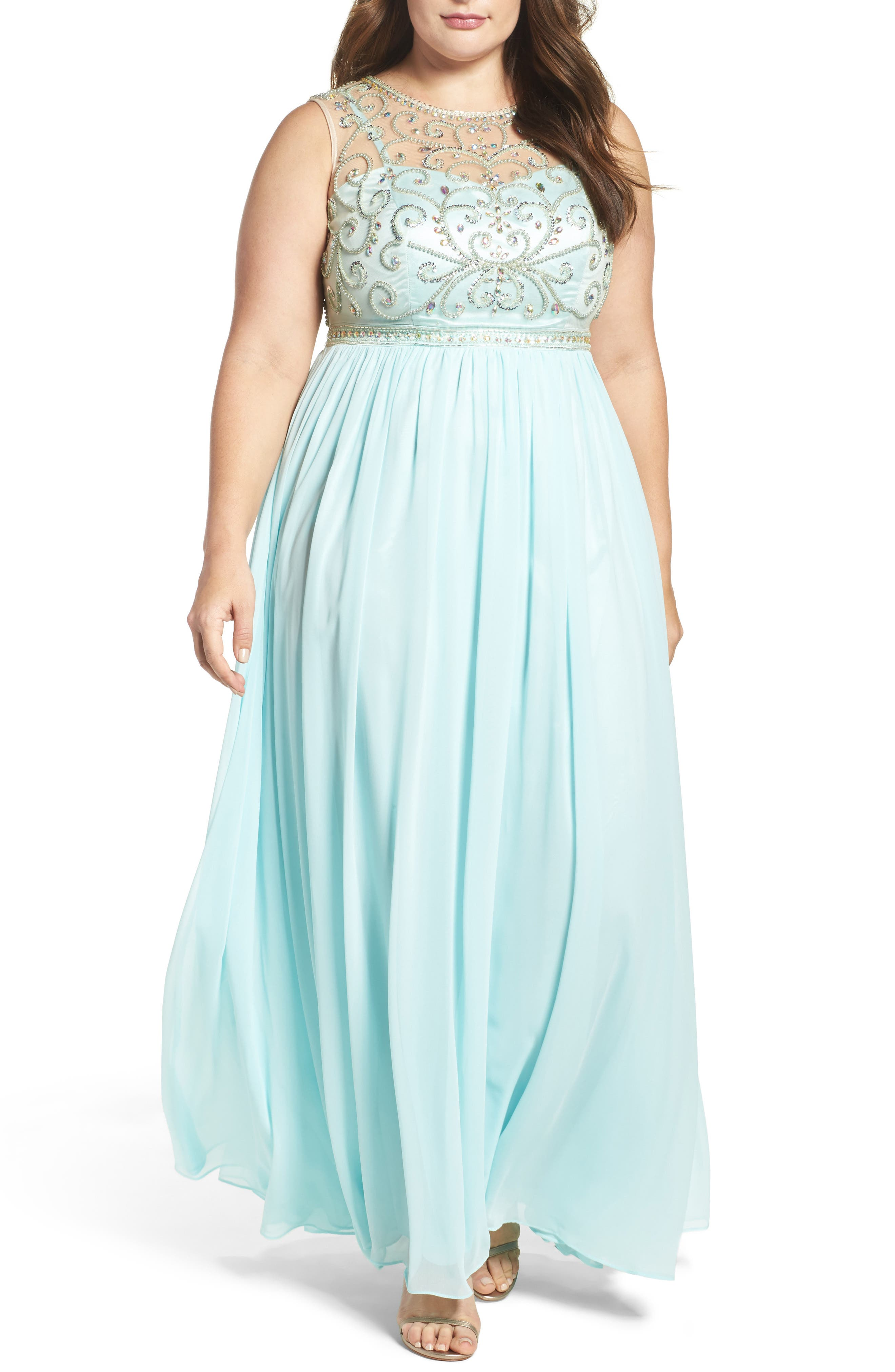 Beaded Illusion A-Line Gown,                             Main thumbnail 1, color,                             Mint