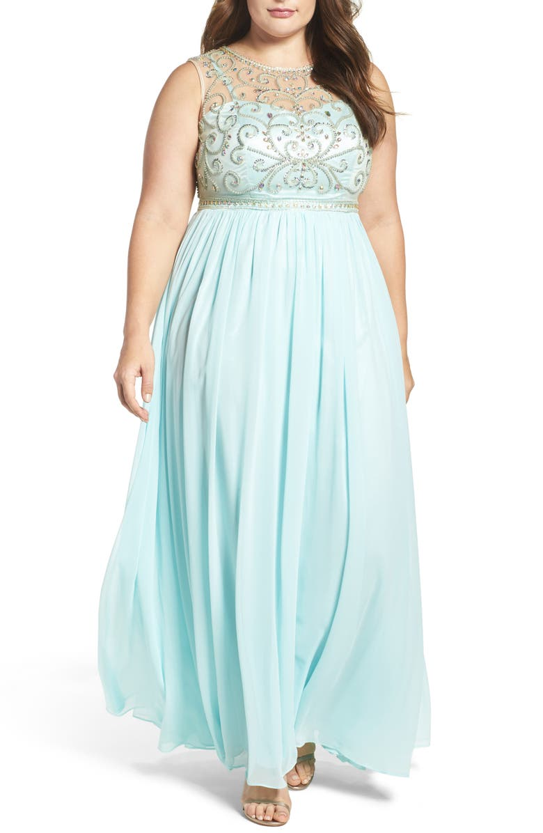 Beaded Illusion A-Line Gown