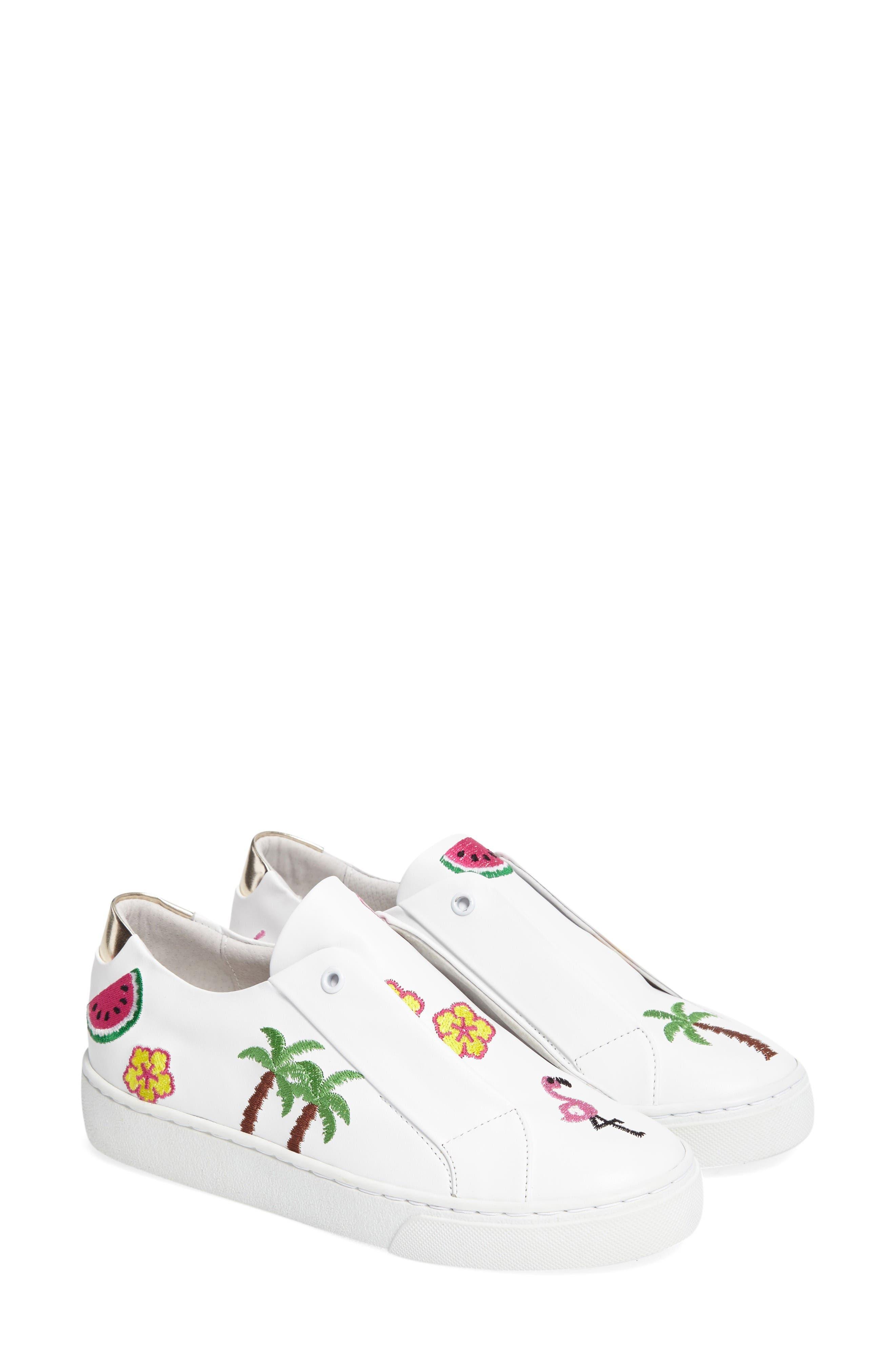 Kamea Slip-On Sneaker,                             Alternate thumbnail 2, color,                             White Leather/ Tropical