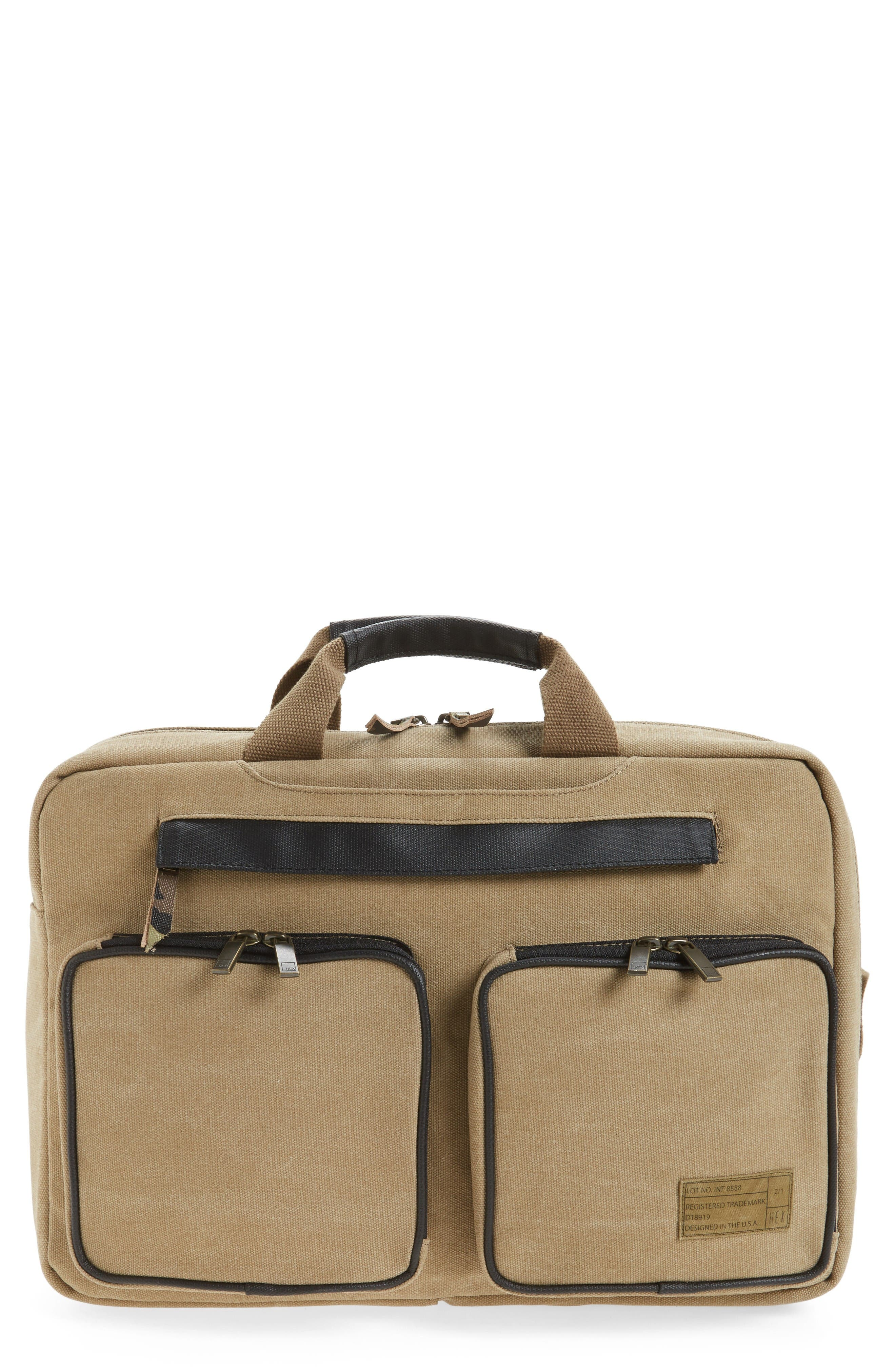Radar Convertible Water Resistant Briefcase,                             Main thumbnail 1, color,                             Khaki