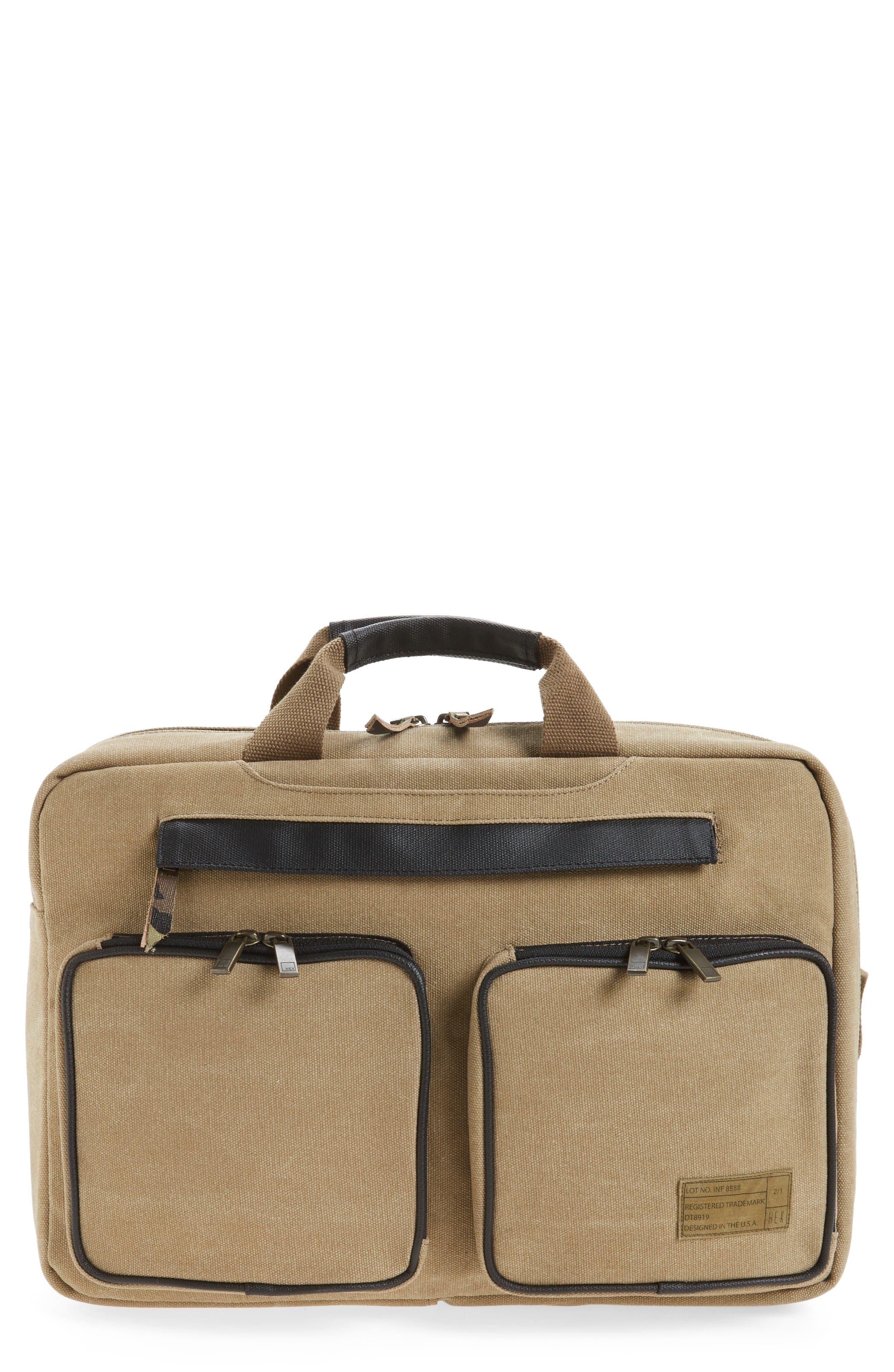 Radar Convertible Water Resistant Briefcase,                         Main,                         color, Khaki