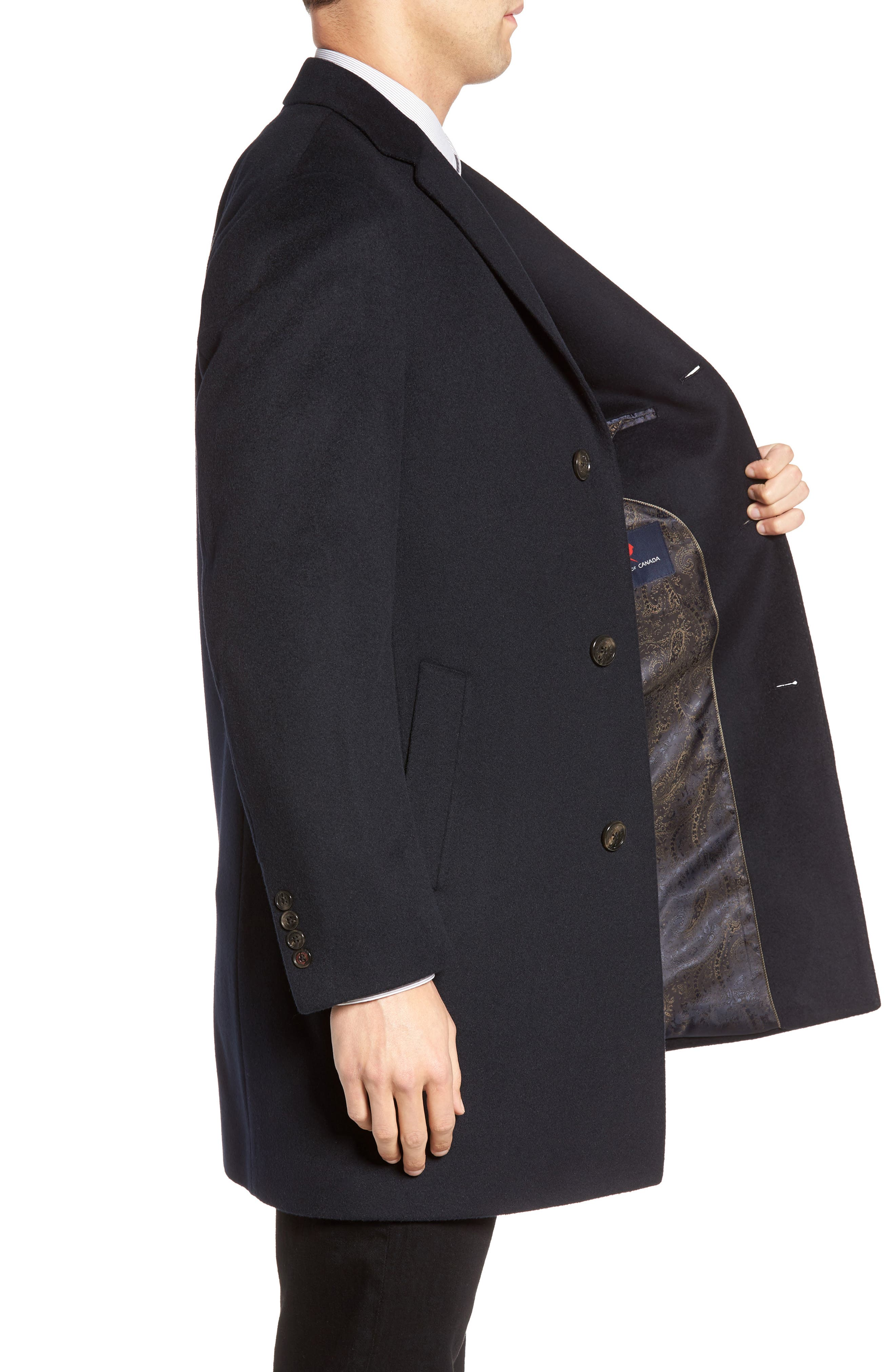 St. Paul Wool & Cashmere Topcoat,                             Alternate thumbnail 3, color,                             Navy