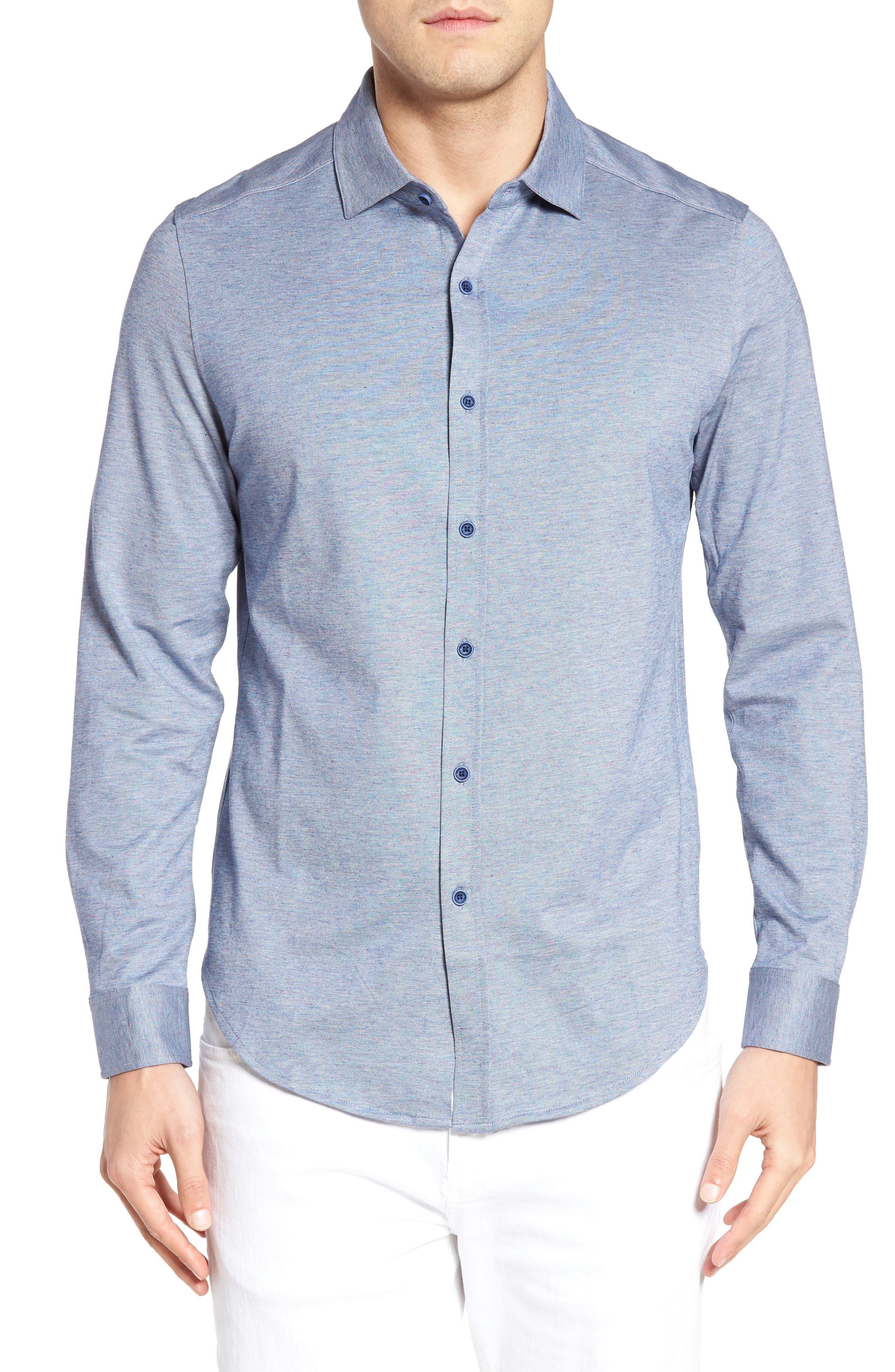 Main Image - Bugatchi Shaped Fit Knit Sport Shirt