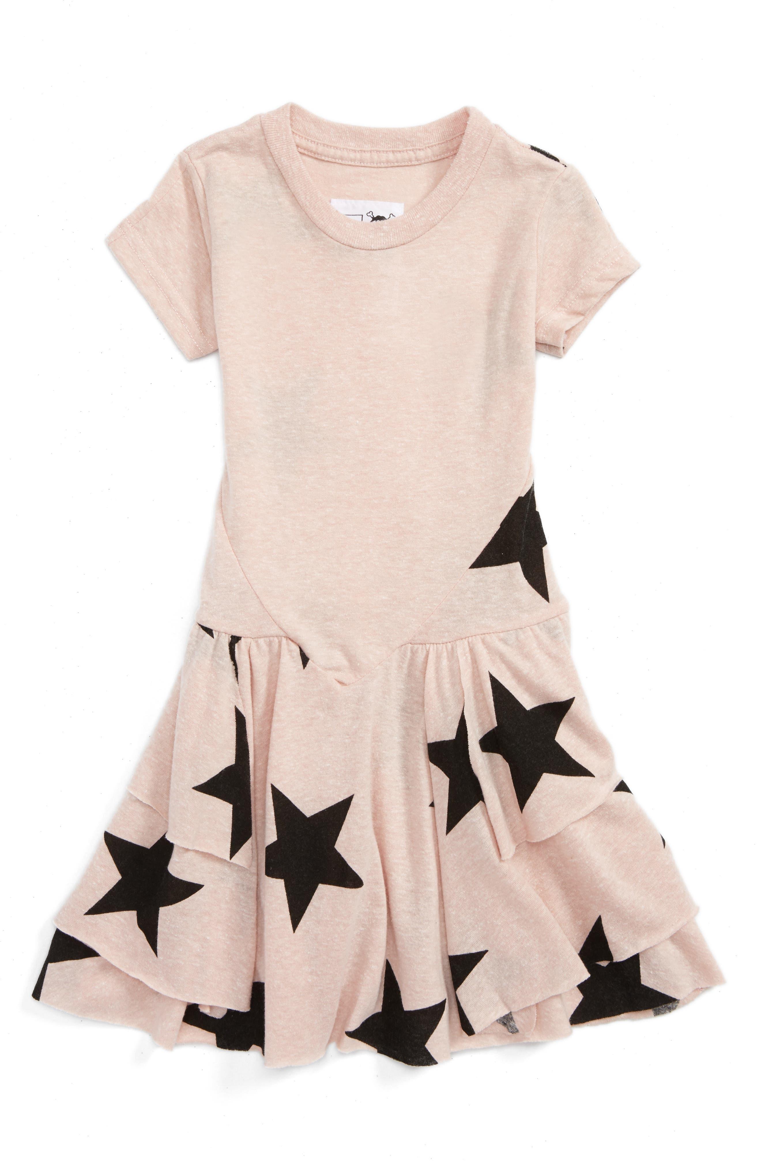 NUNUNU Star Print T-Shirt Dress (Baby Girls)