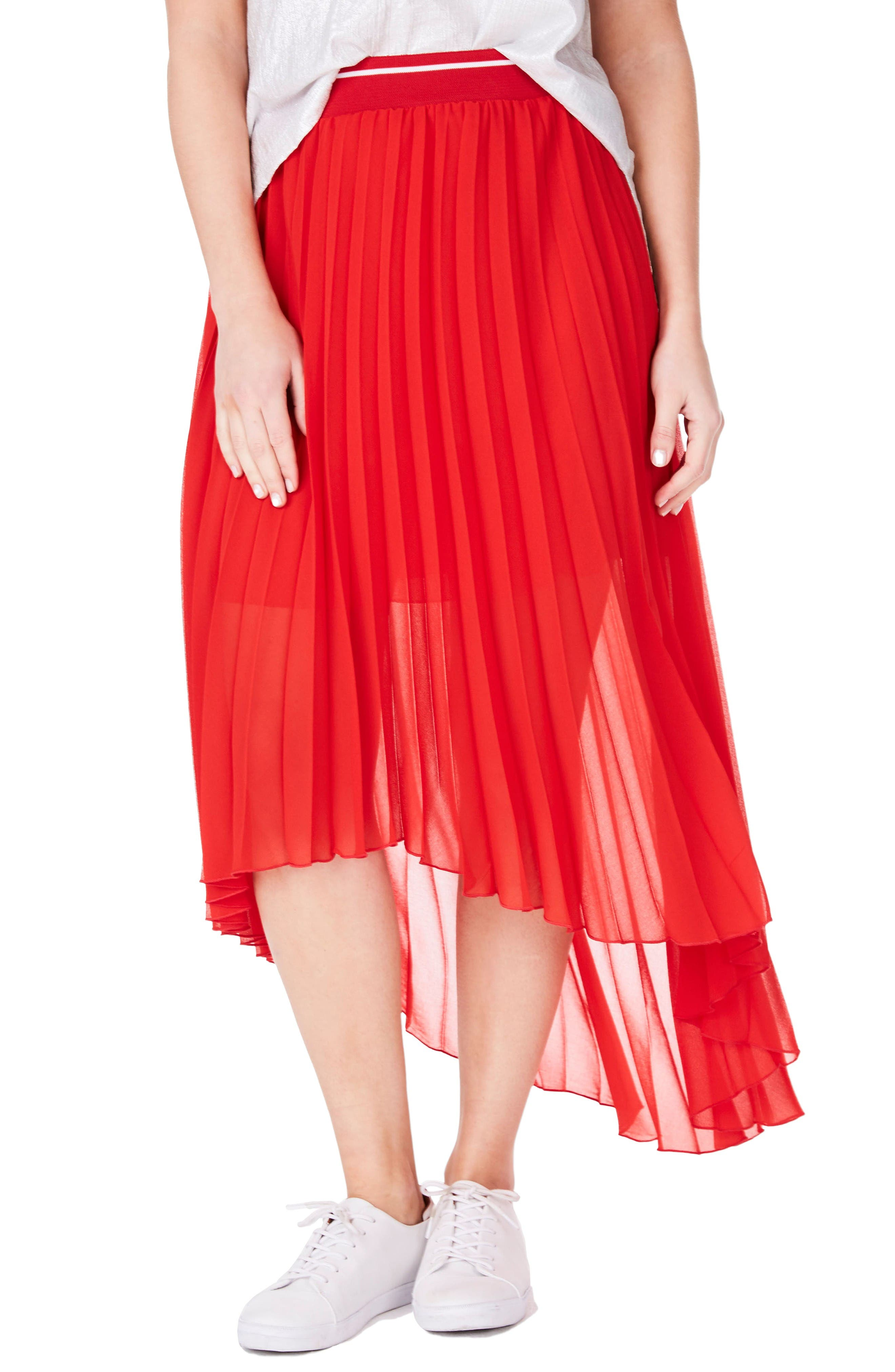 Pleat Chiffon High/Low Skirt,                         Main,                         color, Red