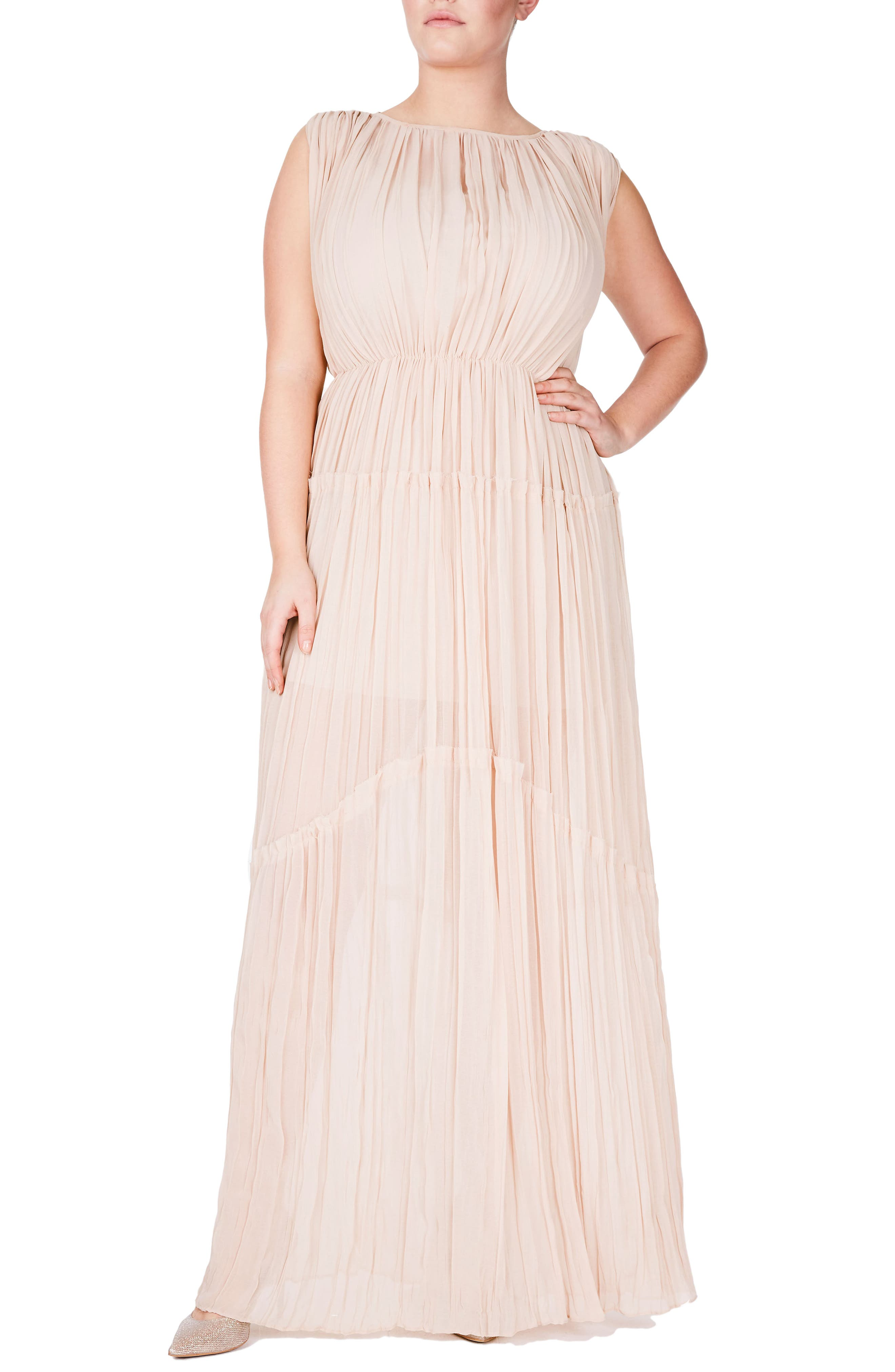 ELVI Pleat Chiffon Tiered Gown (Plus Size)