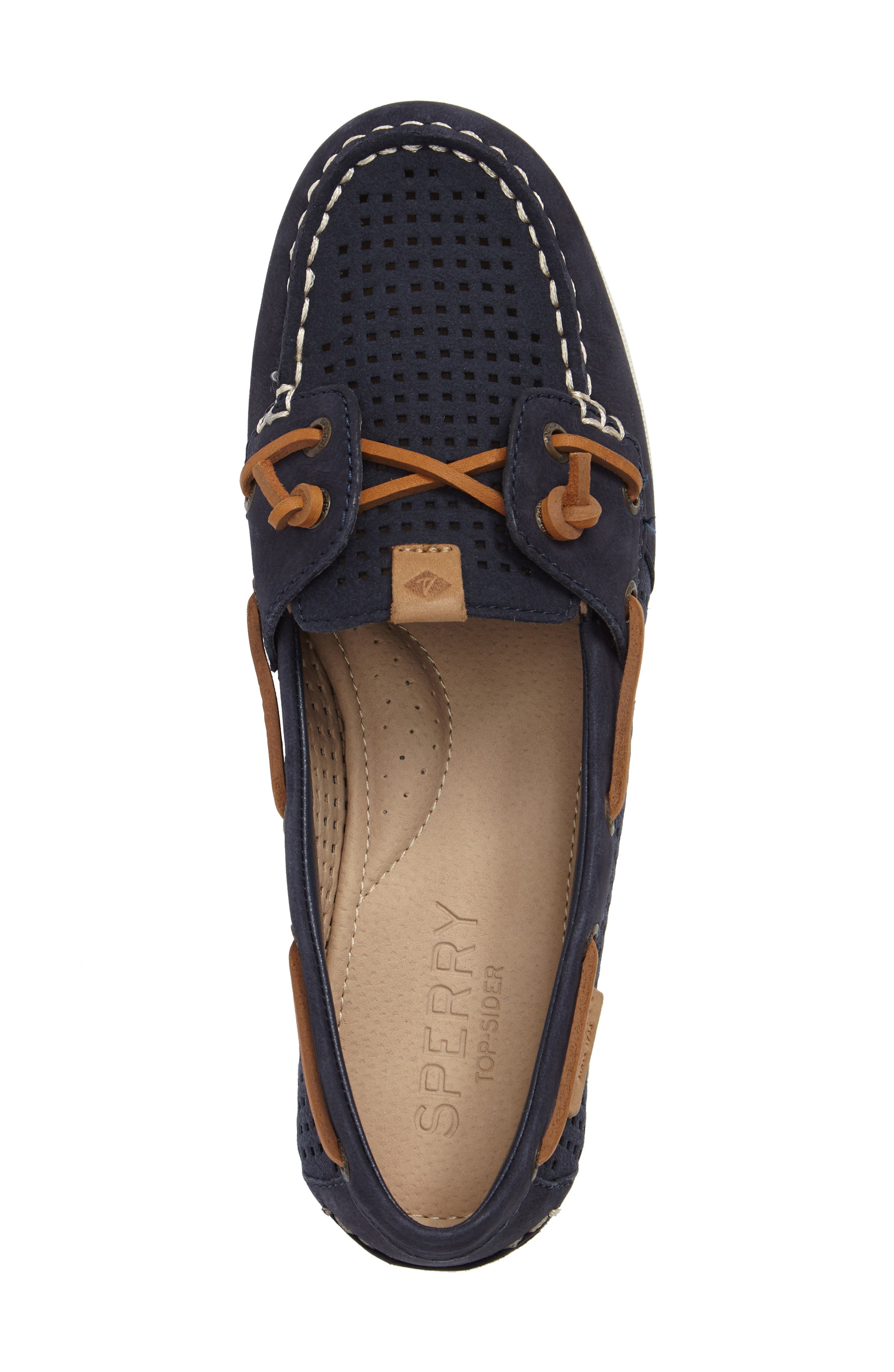 Coil Ivy Boat Shoe,                             Alternate thumbnail 5, color,                             Navy Leather