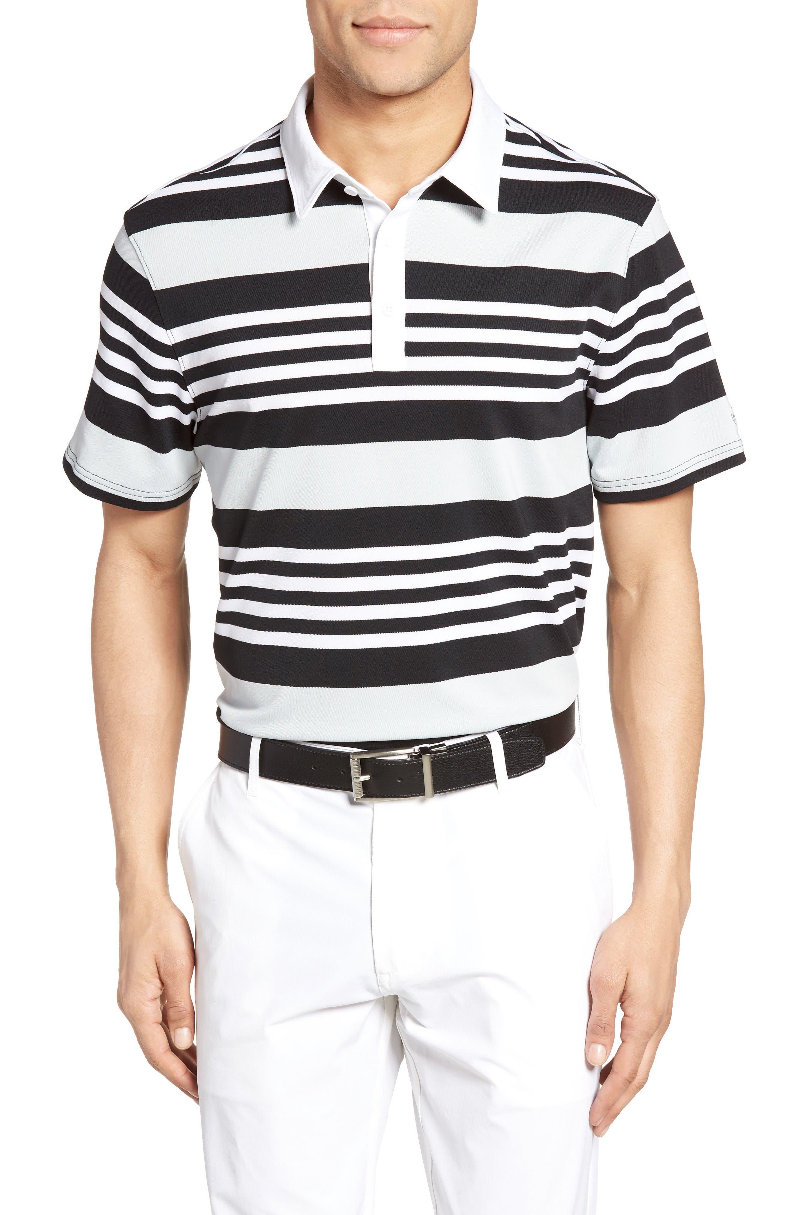 The Benson Stripe Piqué Polo,                         Main,                         color, White/ Caviar/ Morning Grey