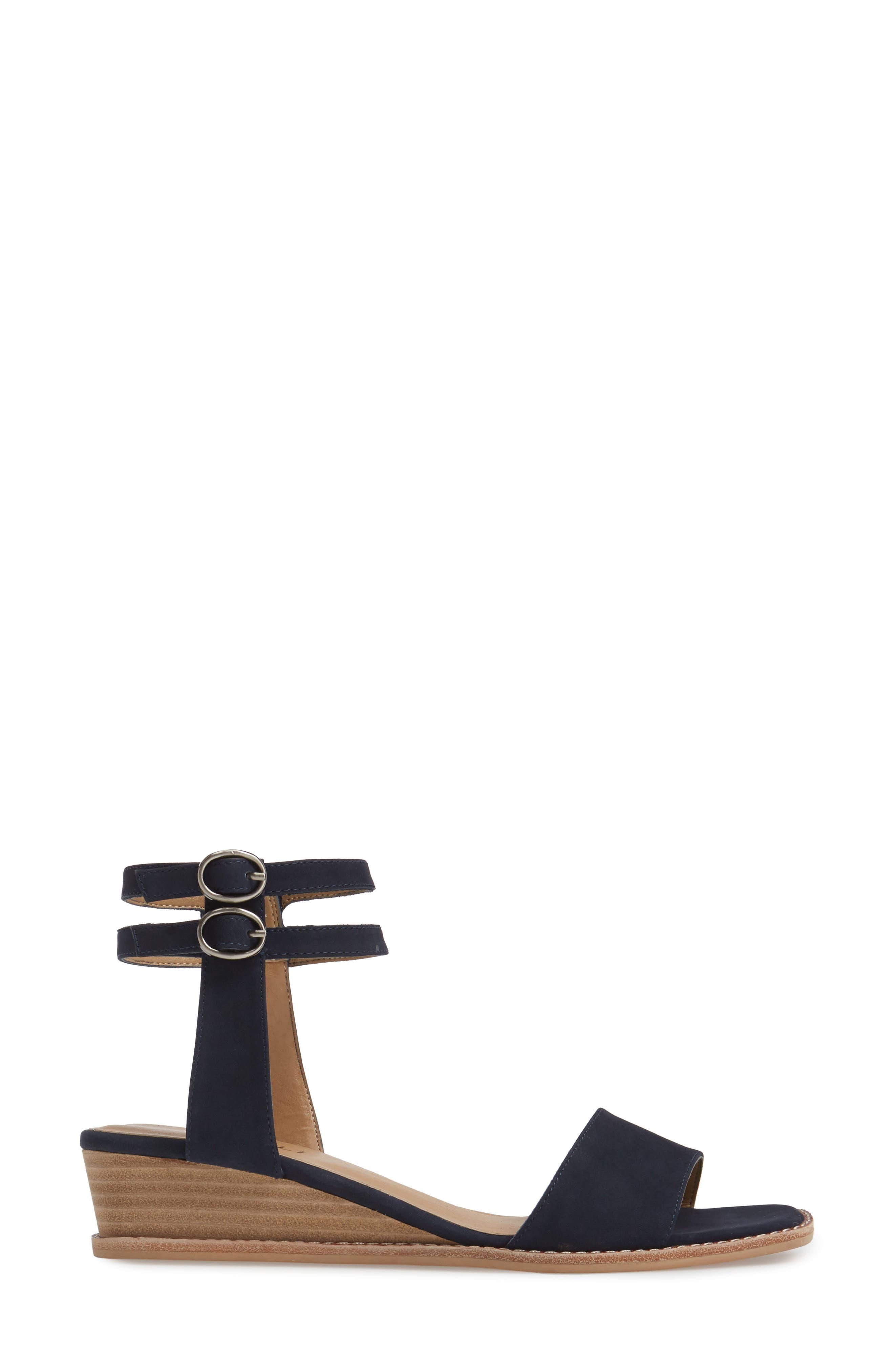 Jarita Ankle Strap Sandal,                             Alternate thumbnail 3, color,                             Navy Leather