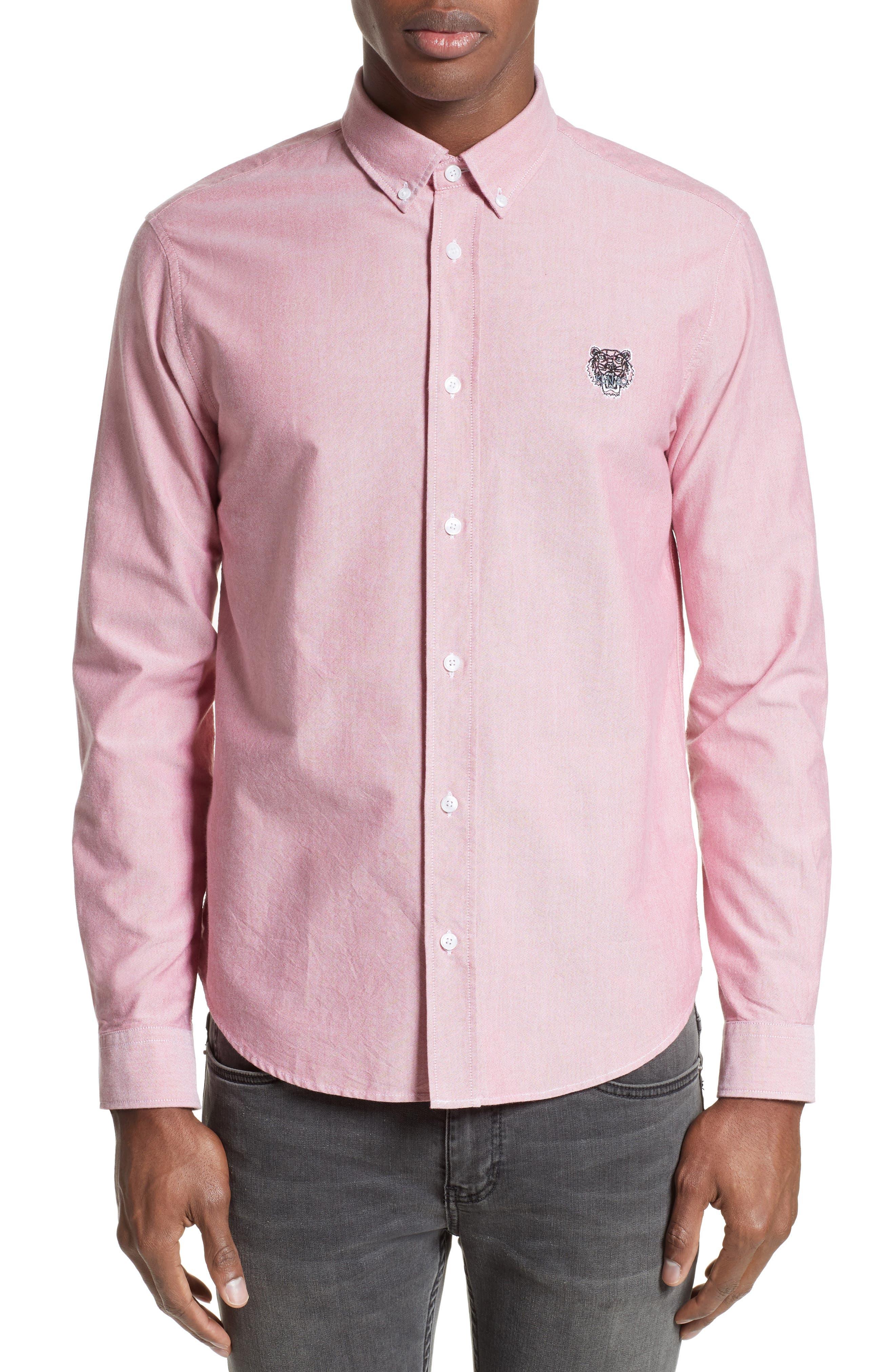 Extra Trim Fit Tiger Crest Sport Shirt,                         Main,                         color, Red