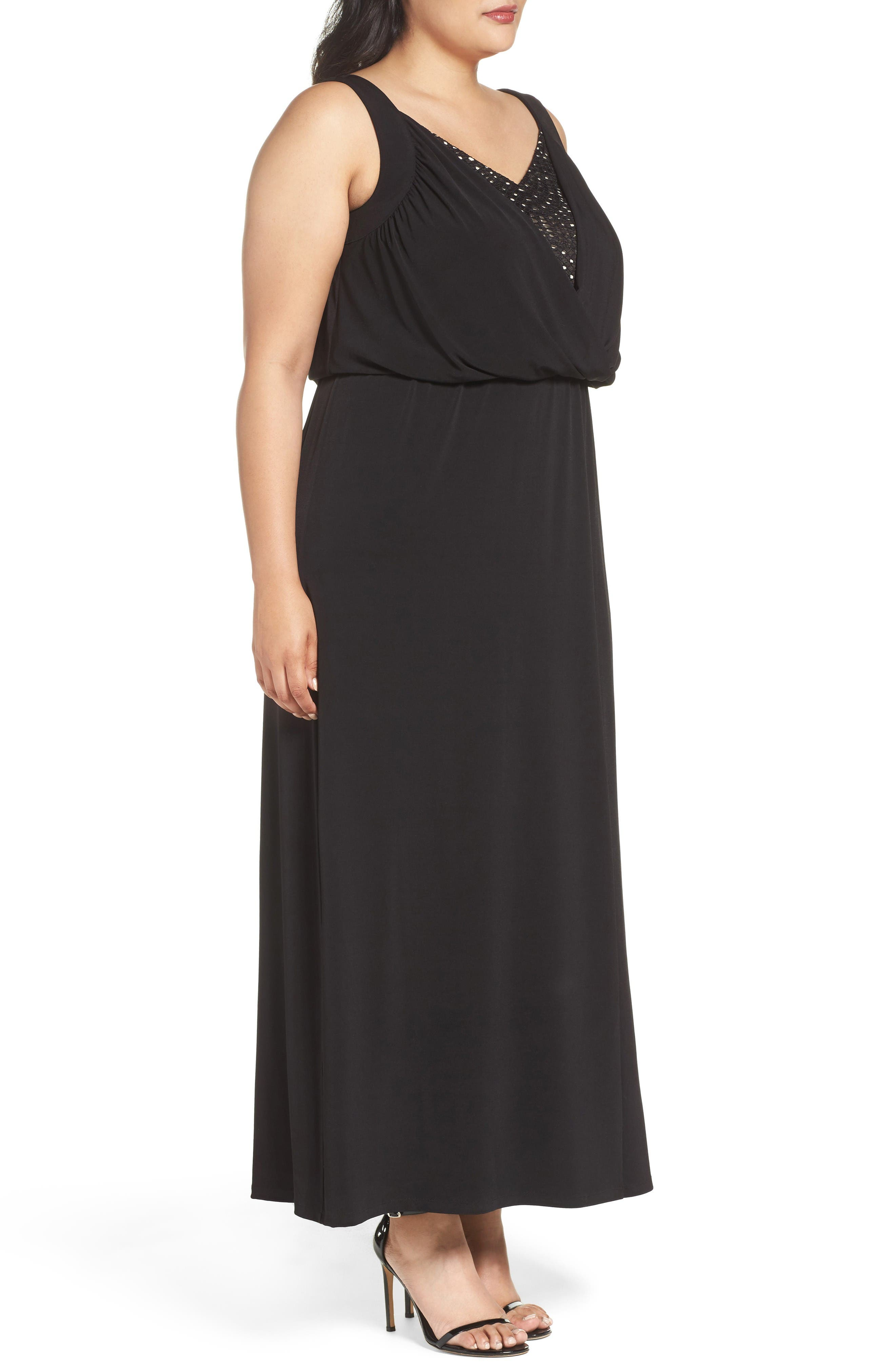 Contrast Underlay Jersey Maxi Dress,                             Alternate thumbnail 3, color,                             Black
