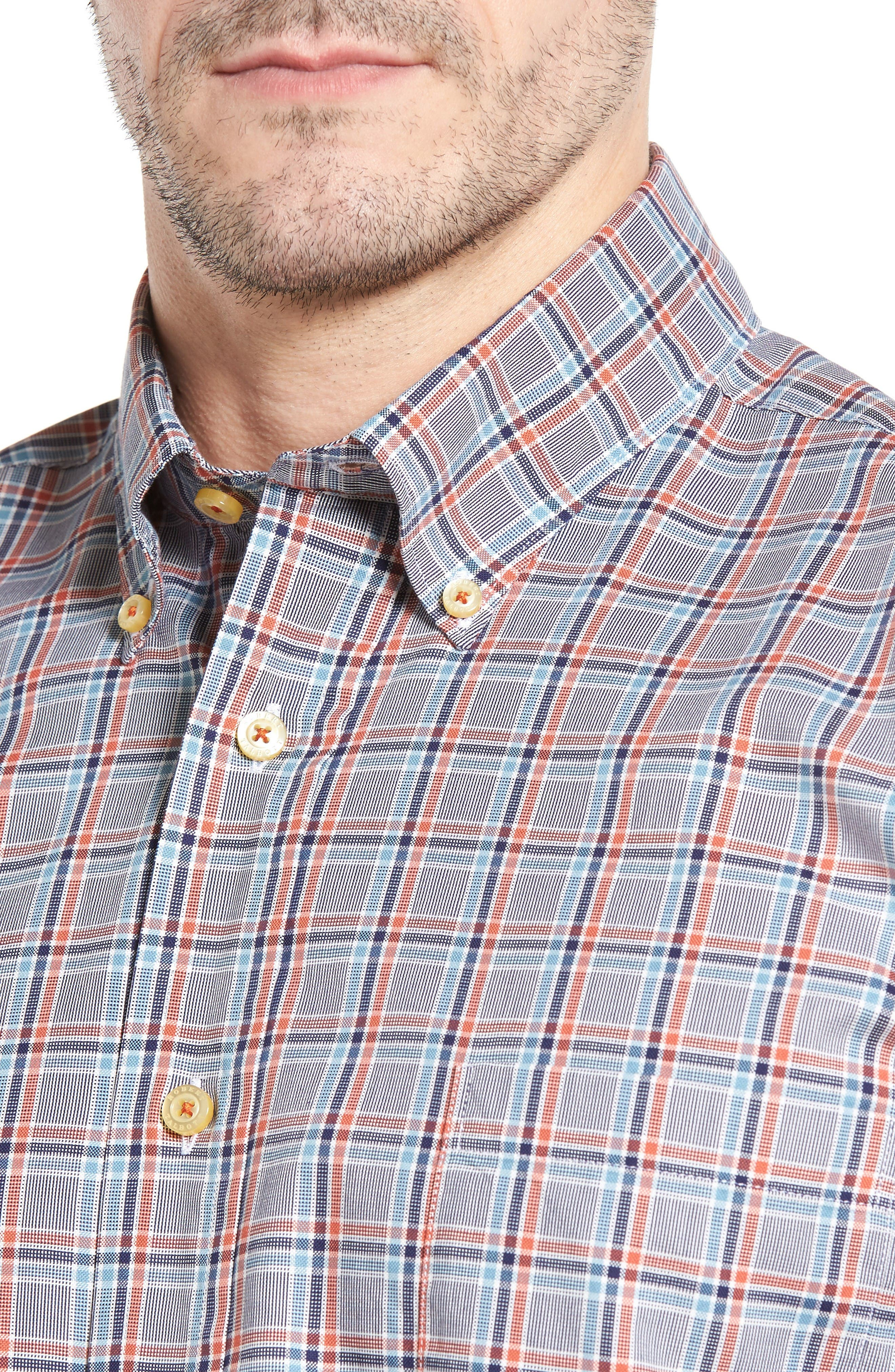 Anderson Classic Fit Plaid Oxford Sport Shirt,                             Alternate thumbnail 4, color,                             Navy