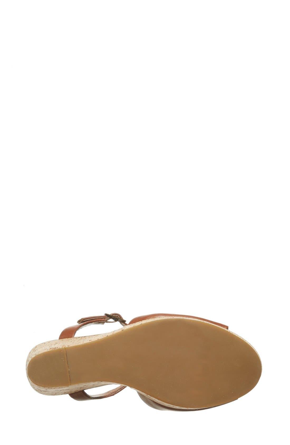 'Korkey' Ankle Strap Wedge Platform Sandal,                             Alternate thumbnail 4, color,                             Cognac