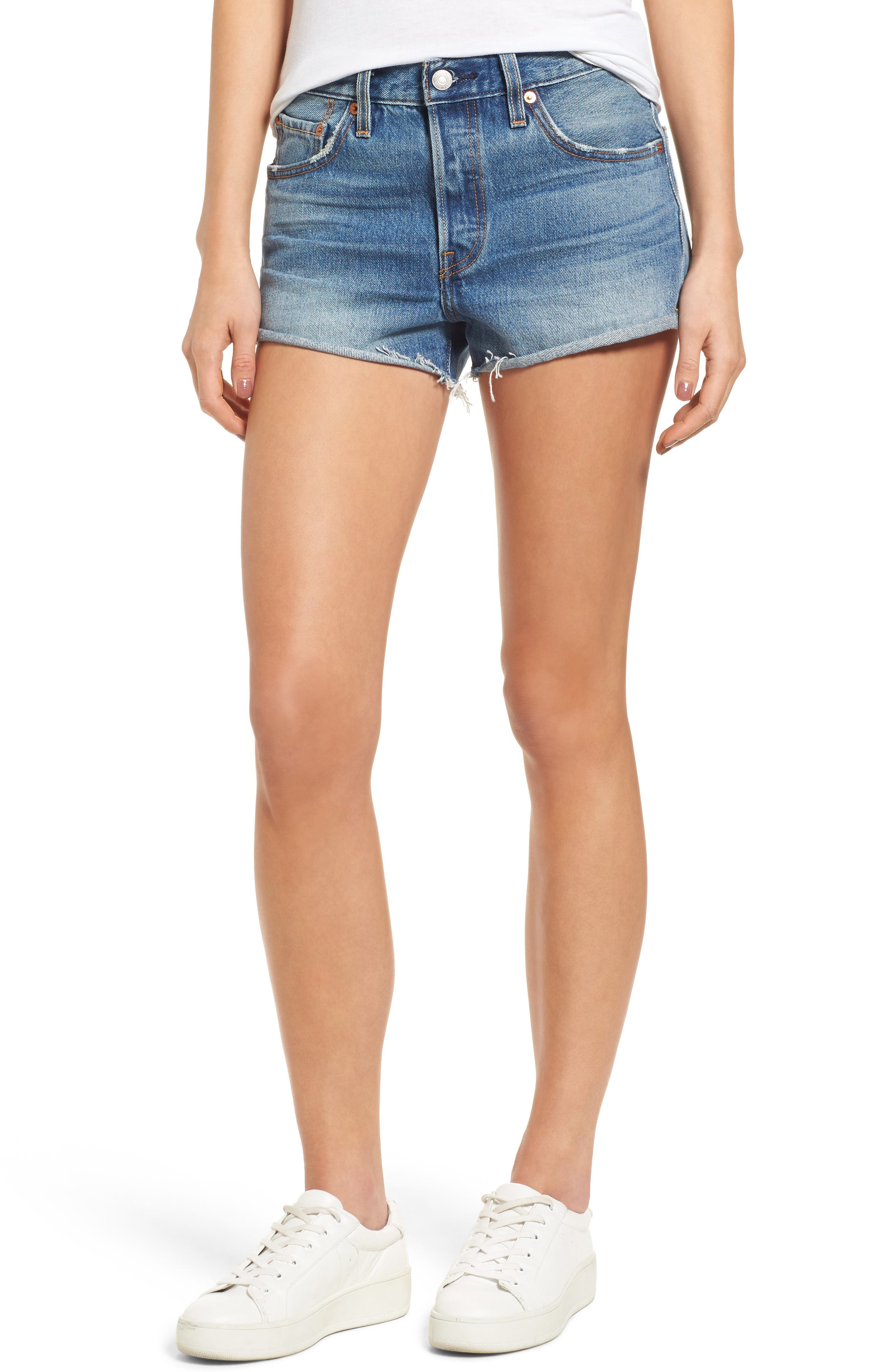 Cutoff Denim Shorts,                             Main thumbnail 1, color,                             Blue Explorer