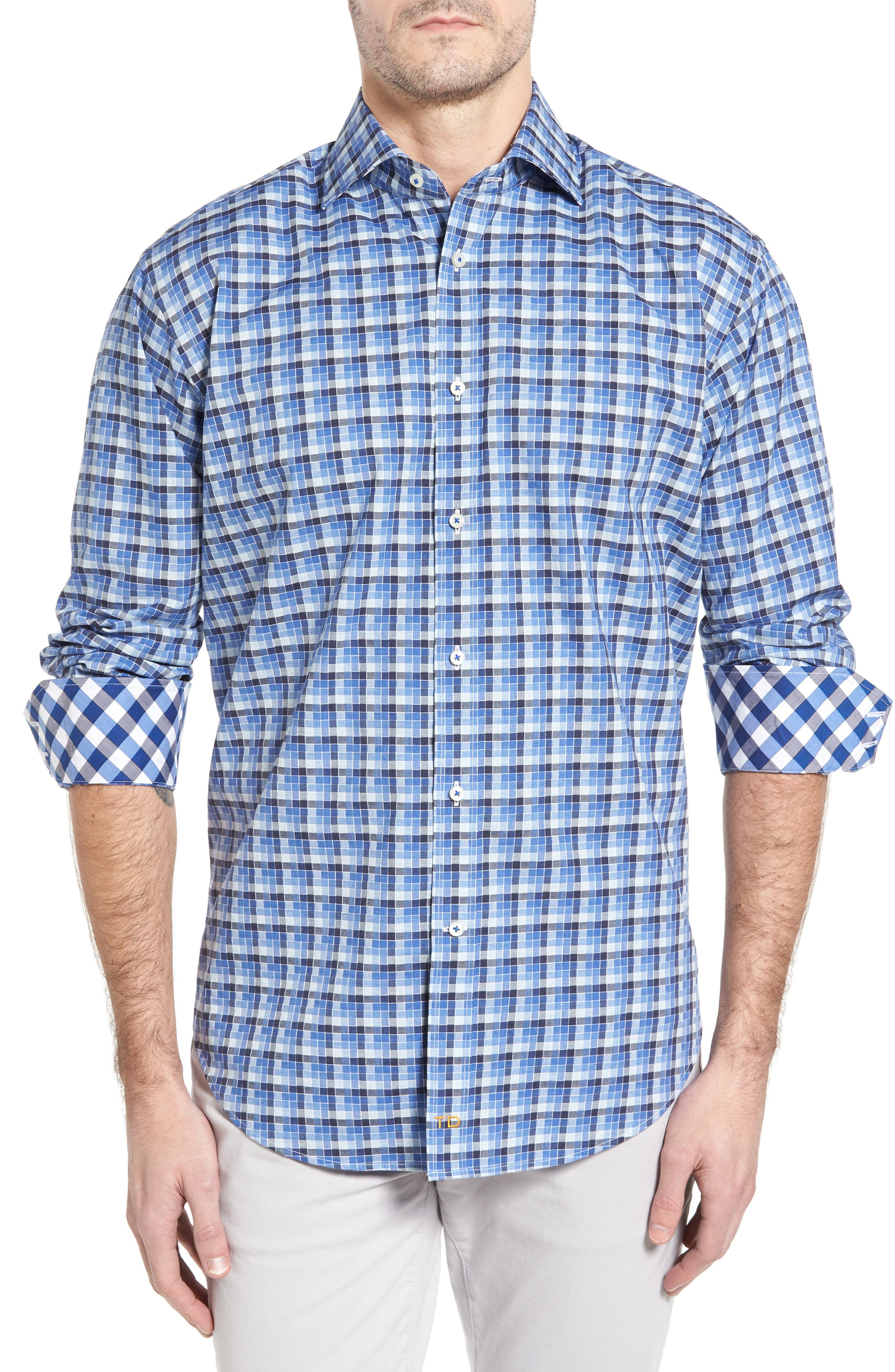 Classic Fit Funky Check Sport Shirt,                             Main thumbnail 1, color,                             Blue