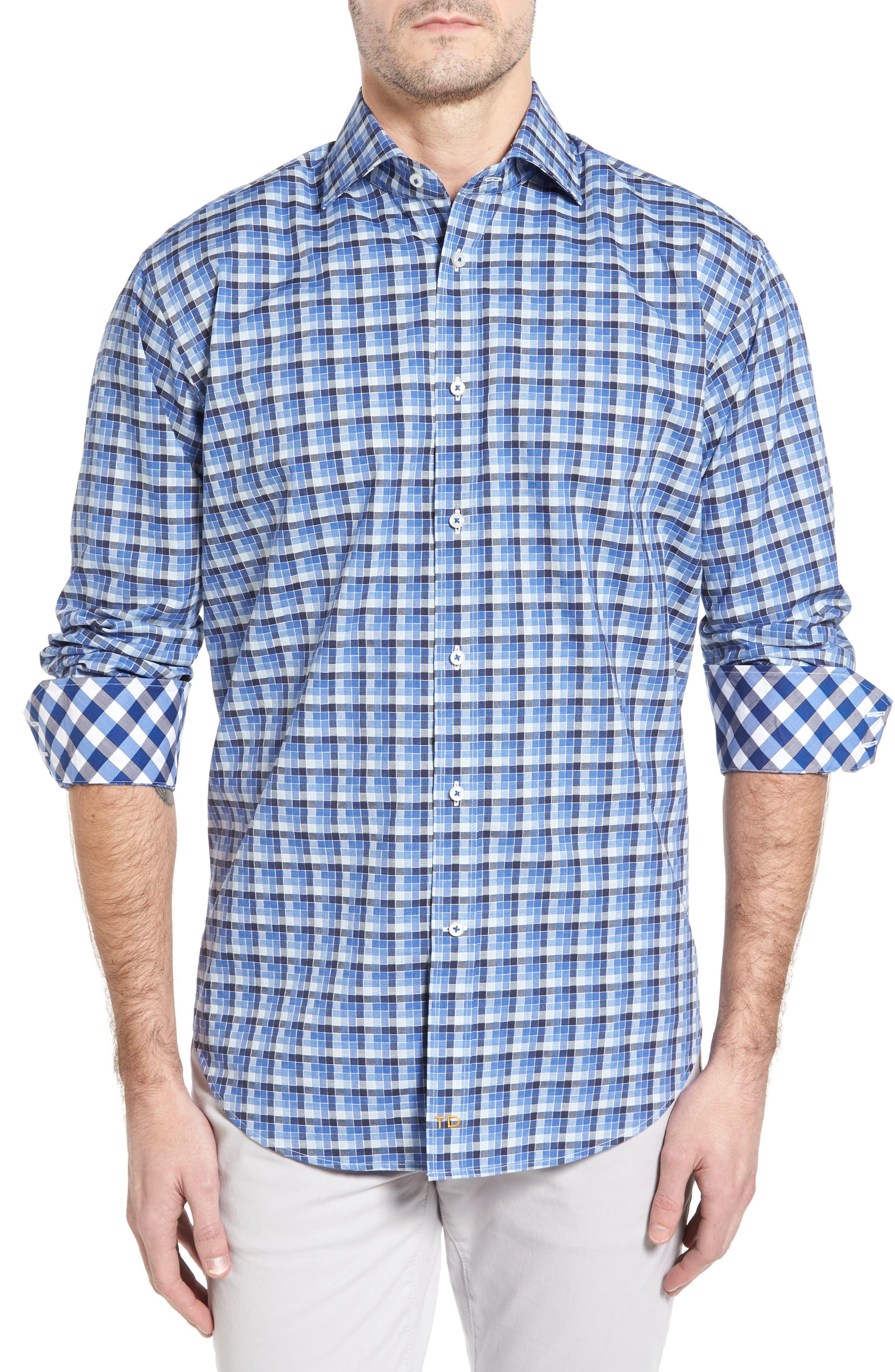 Thomas Dean Classic Fit Funky Check Sport Shirt