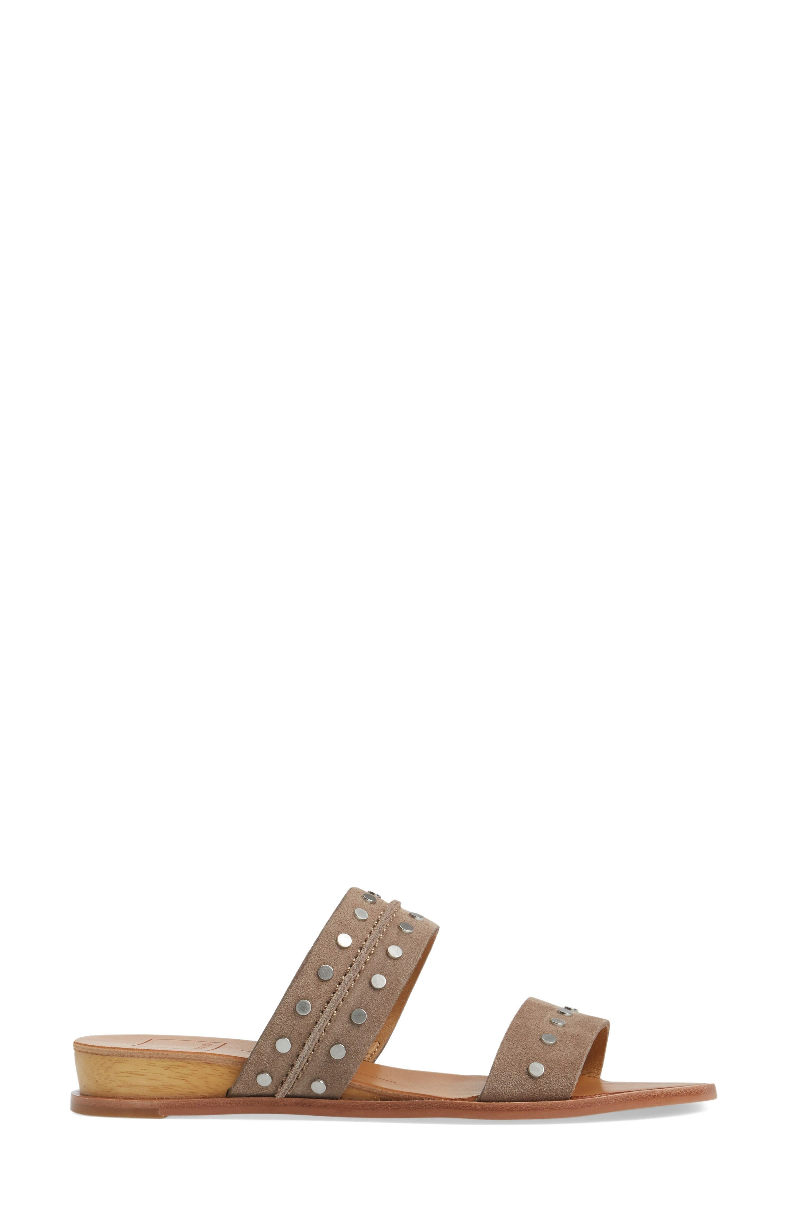 Pacey Studded Wedge Sandal,                             Alternate thumbnail 3, color,                             Taupe Suede