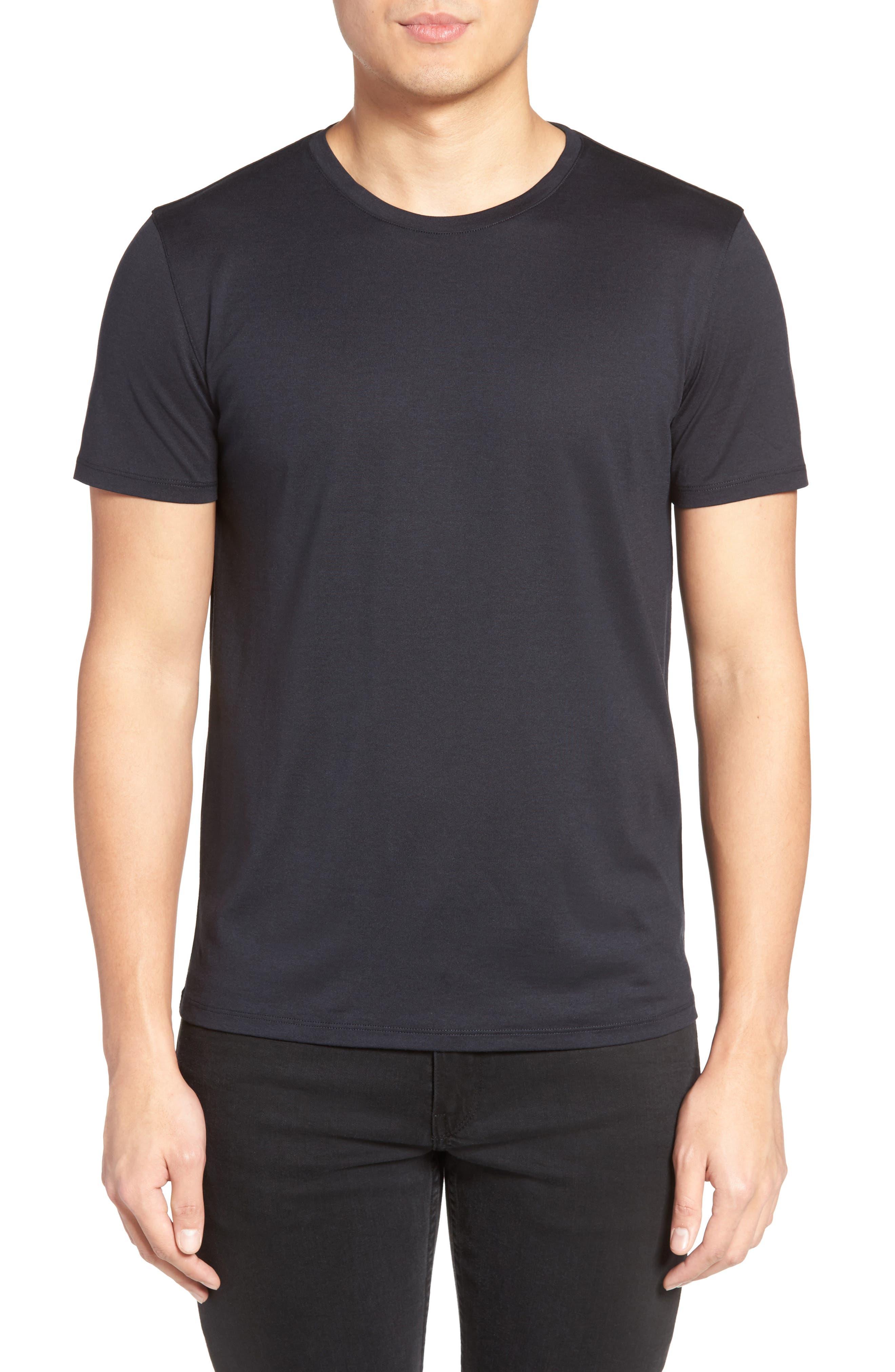 Silk & Cotton Crewneck T-Shirt,                         Main,                         color, Eclipse