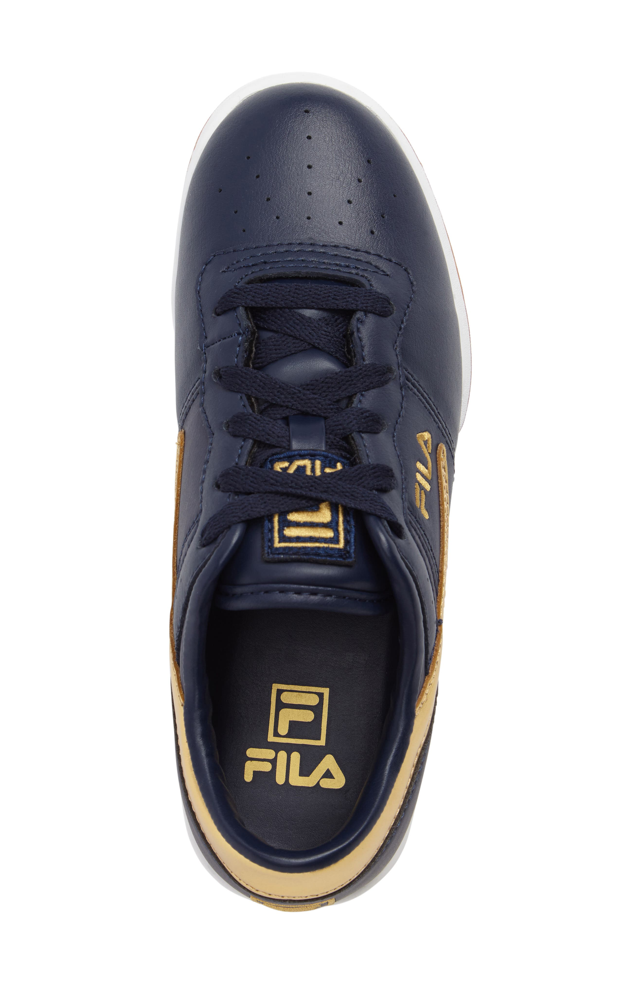Heritage Sneaker,                             Alternate thumbnail 5, color,                             Navy/ Gold Faux Leather