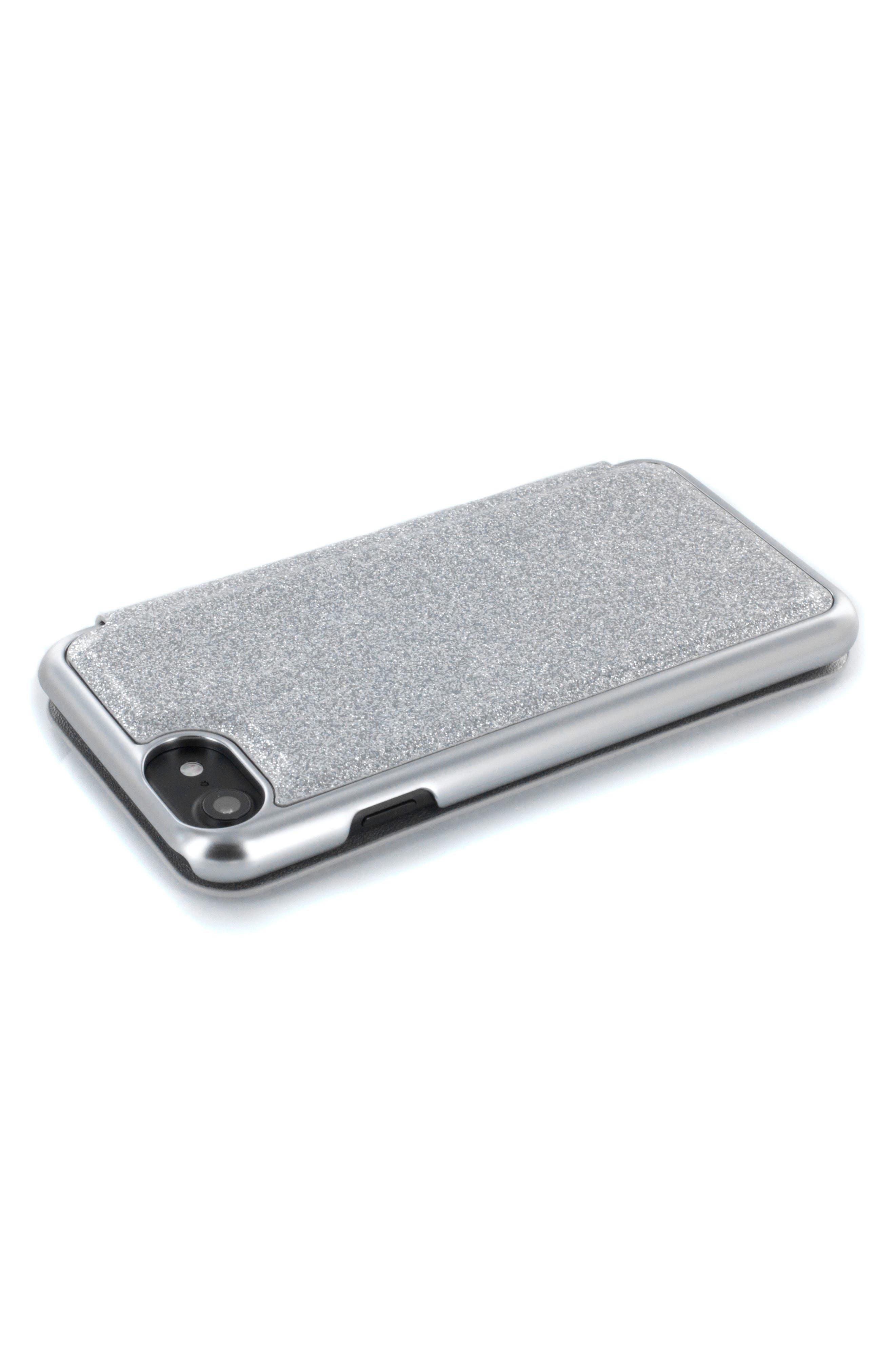Glitsie iPhone 6/6s/7/8 Mirror Folio Case,                             Alternate thumbnail 5, color,                             Silver
