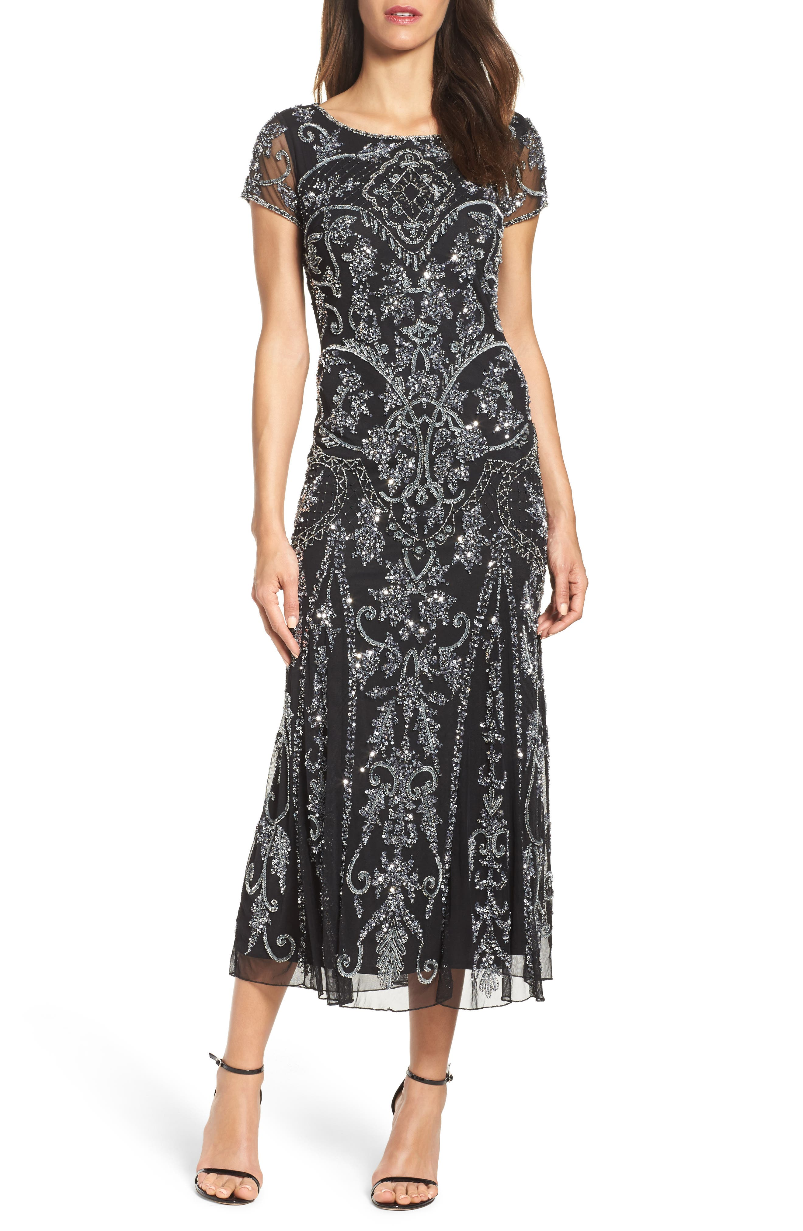 Pisarro Nights Embellished Mesh Gown (Regular & Petite)
