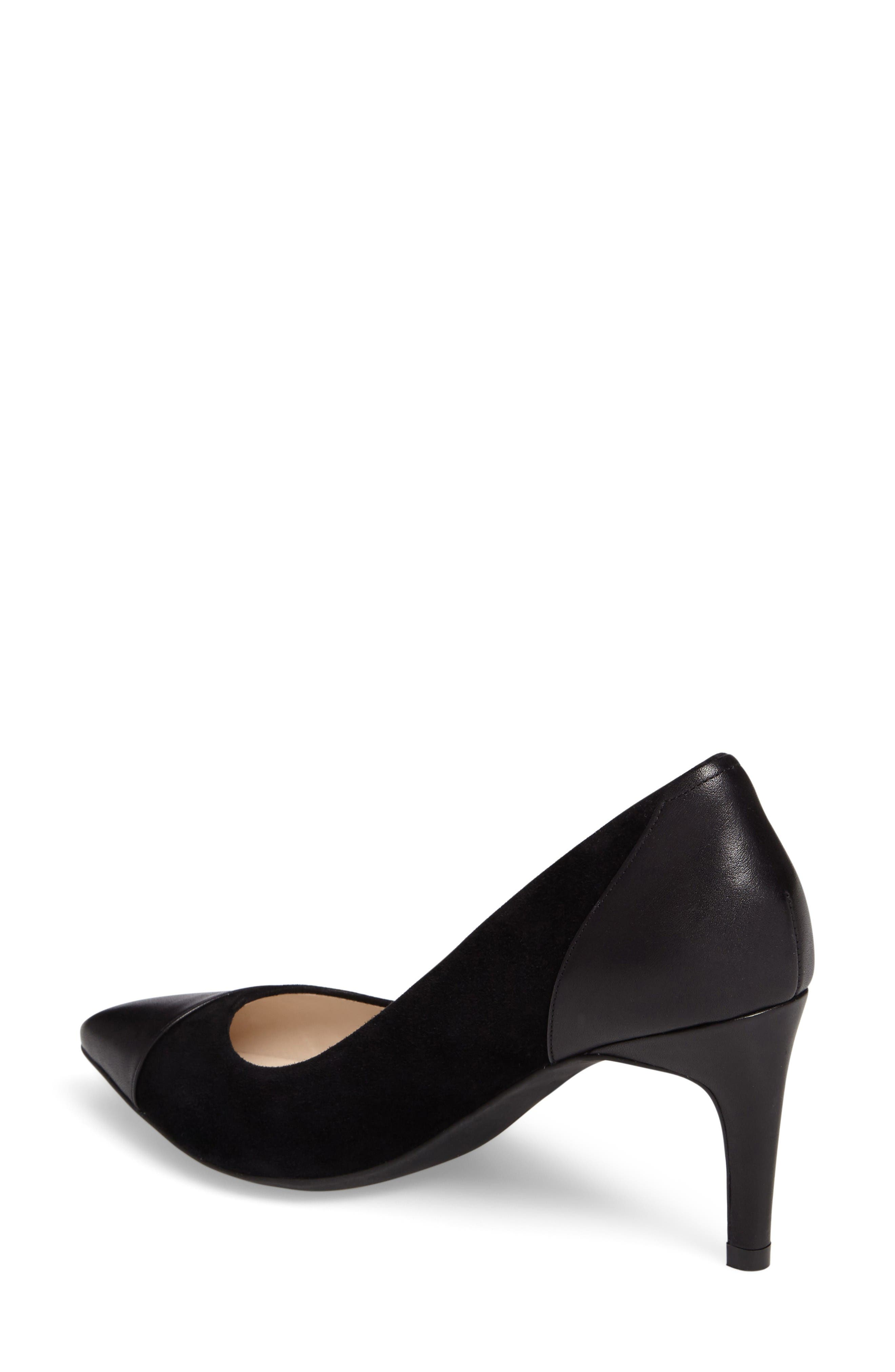 Shayla Pointy Toe Pump,                             Alternate thumbnail 2, color,                             Black Suede