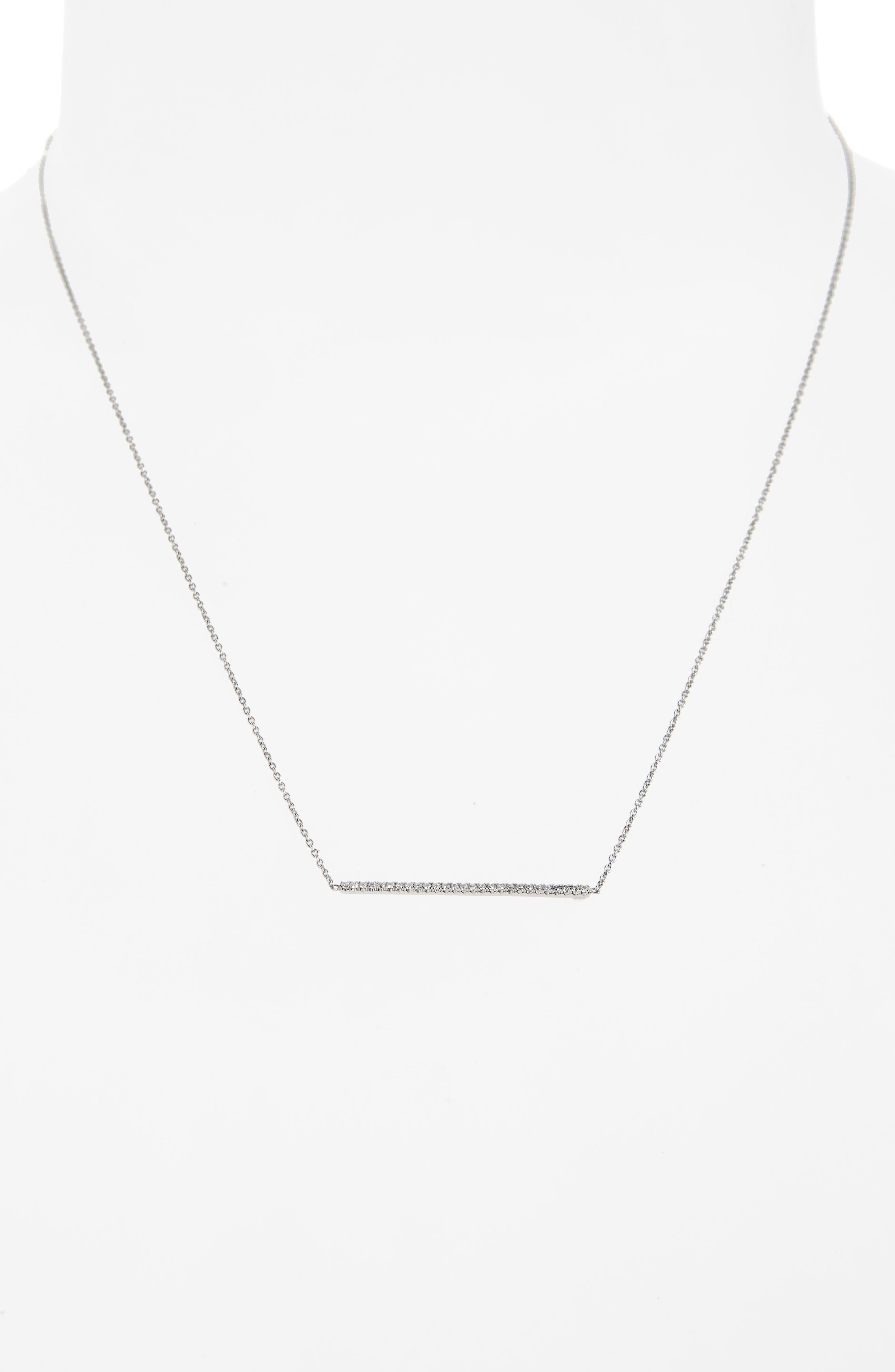 Tiny Treasures Diamond Bar Necklace,                             Alternate thumbnail 2, color,                             White Gold